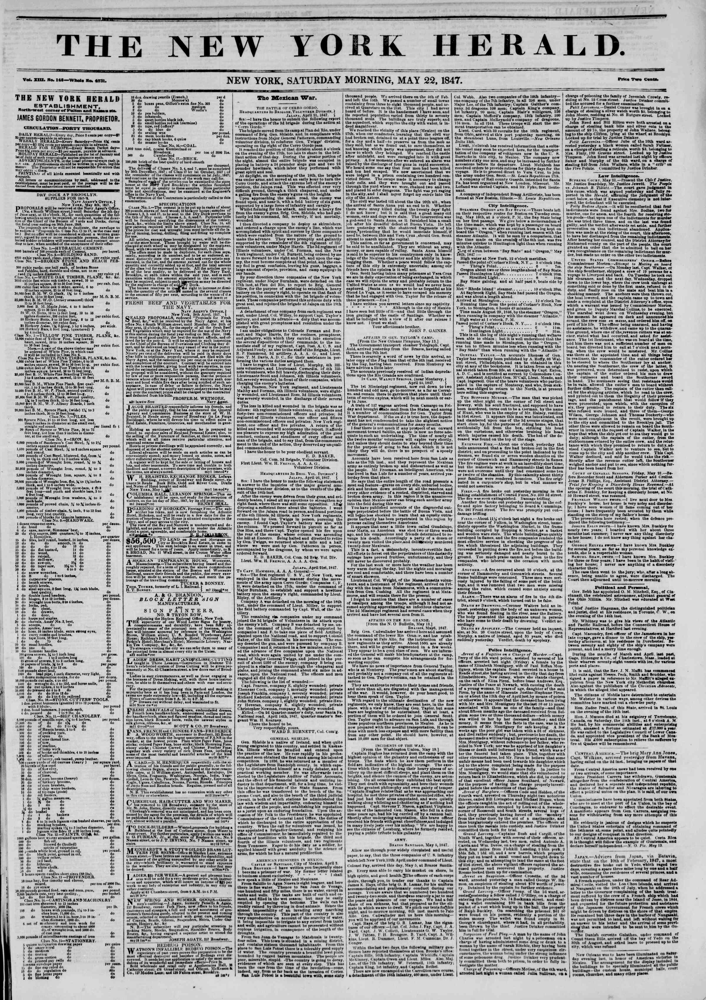 Newspaper of The New York Herald dated May 22, 1847 Page 1
