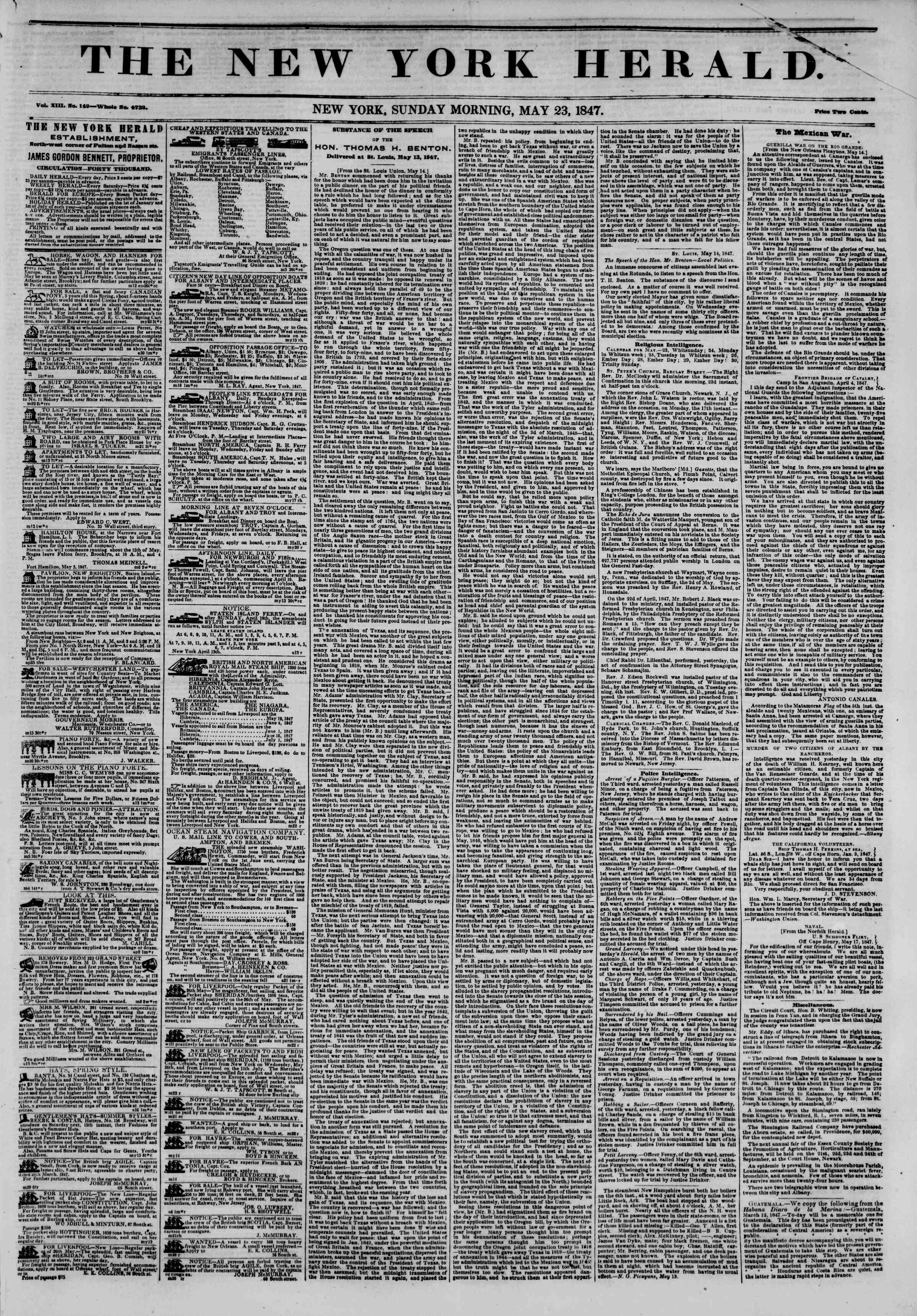 Newspaper of The New York Herald dated May 23, 1847 Page 1