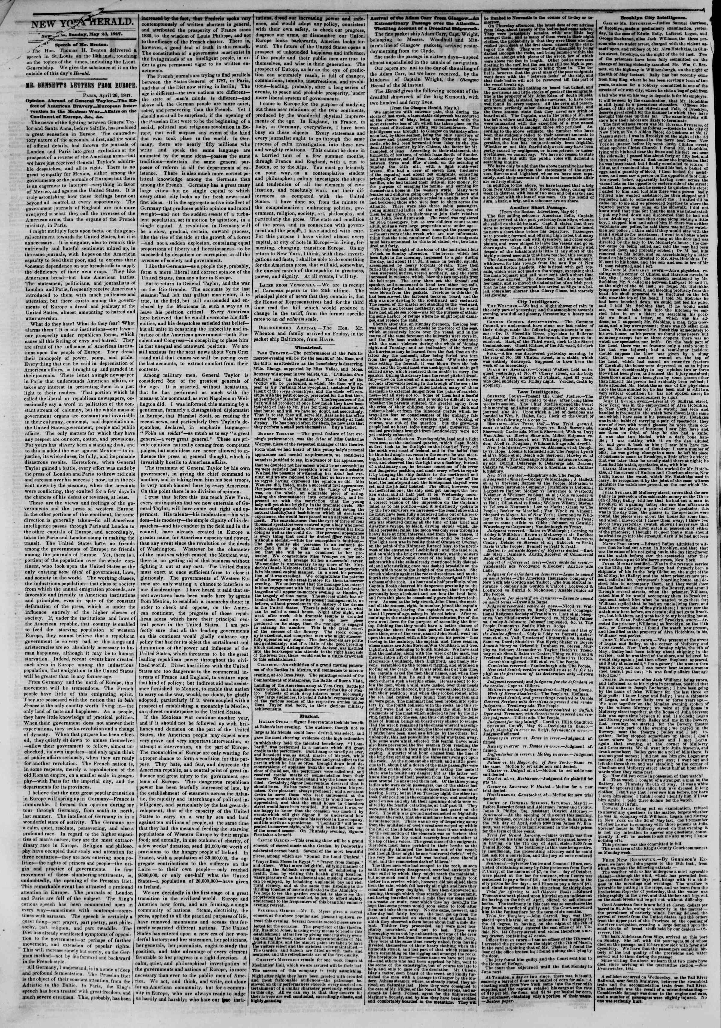 Newspaper of The New York Herald dated May 23, 1847 Page 2