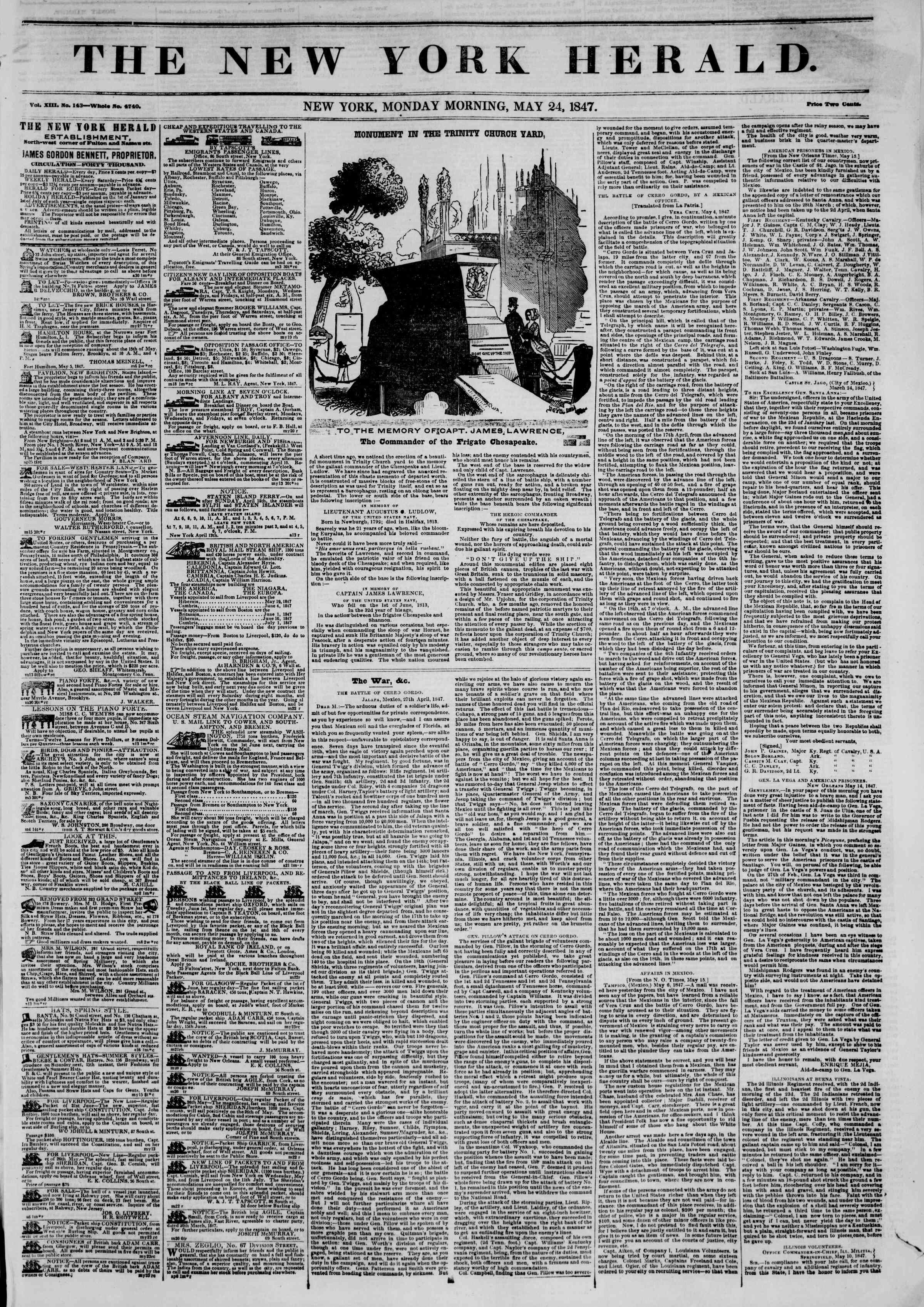 Newspaper of The New York Herald dated May 24, 1847 Page 1