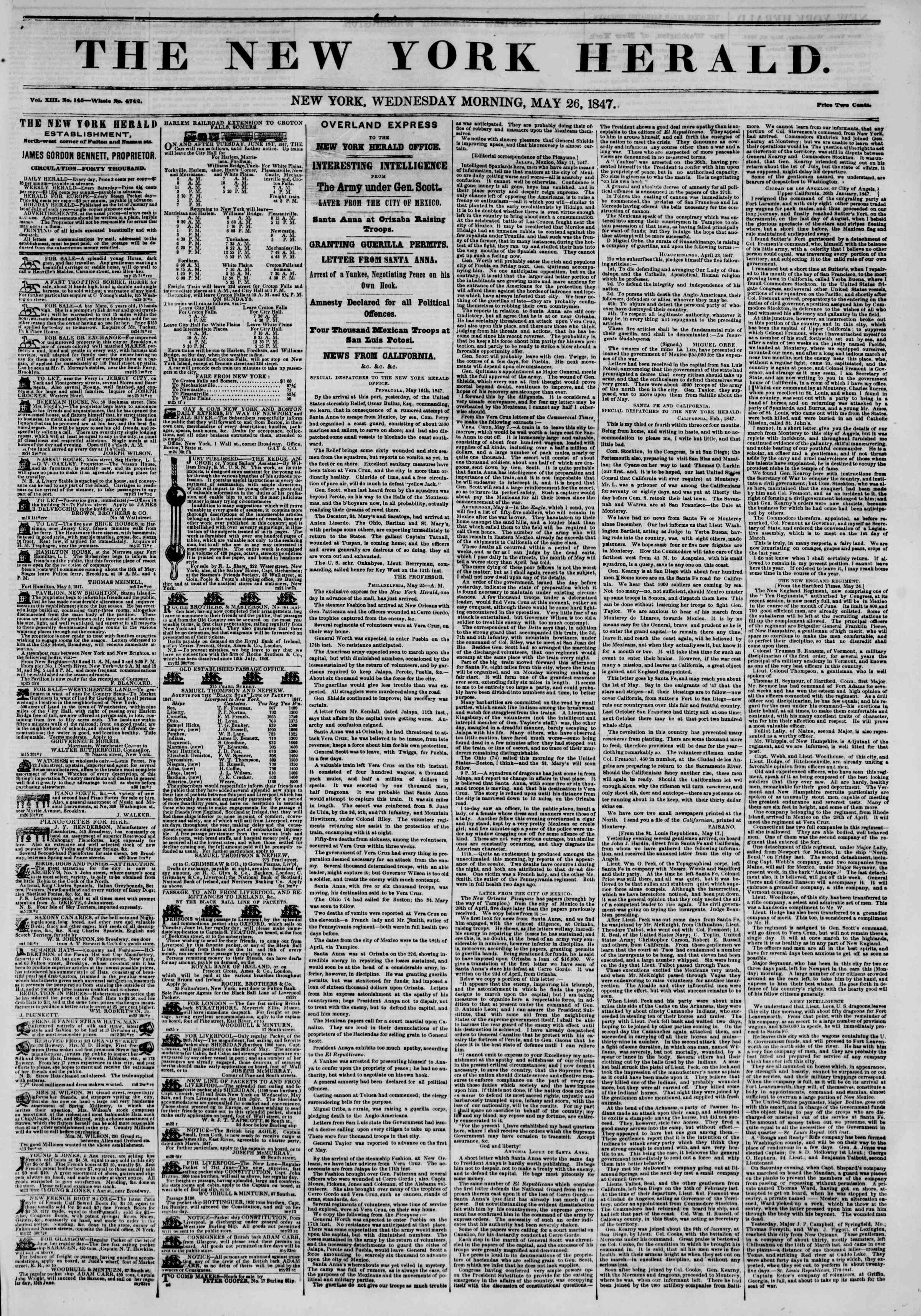 Newspaper of The New York Herald dated May 26, 1847 Page 1