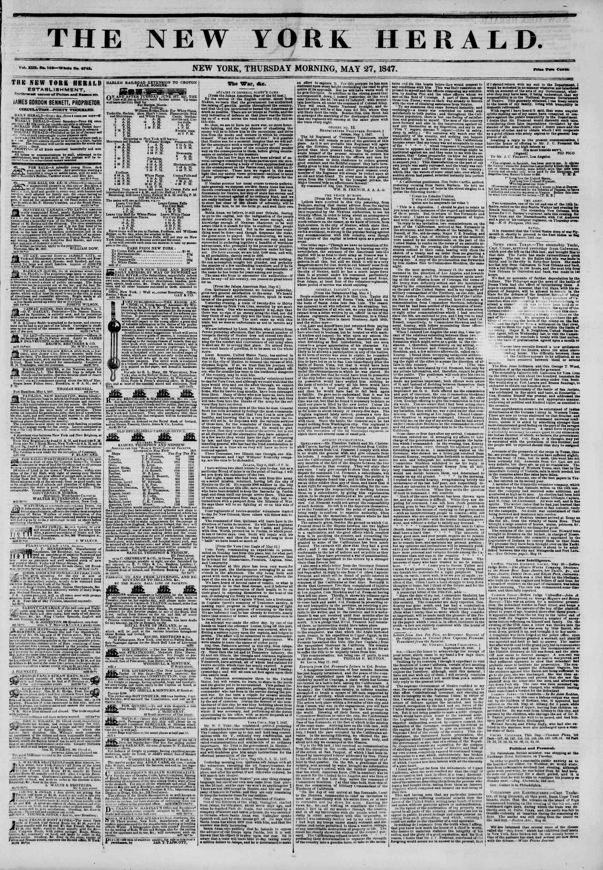 Newspaper of The New York Herald dated May 27, 1847 Page 1