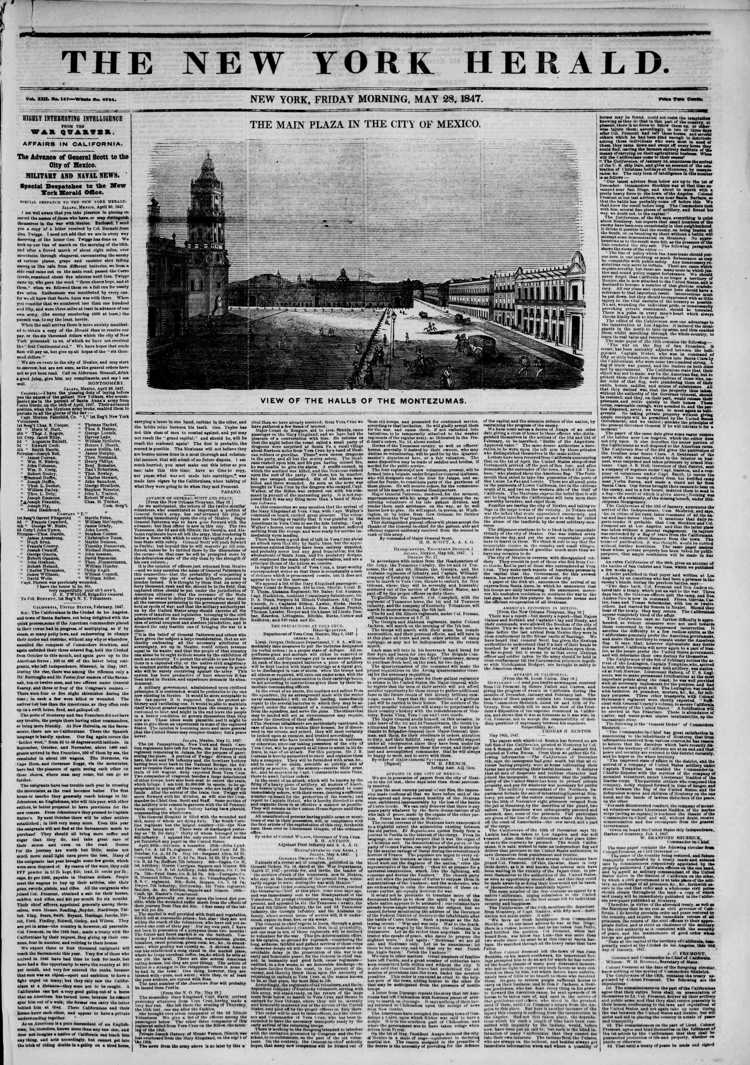 Newspaper of The New York Herald dated May 28, 1847 Page 1