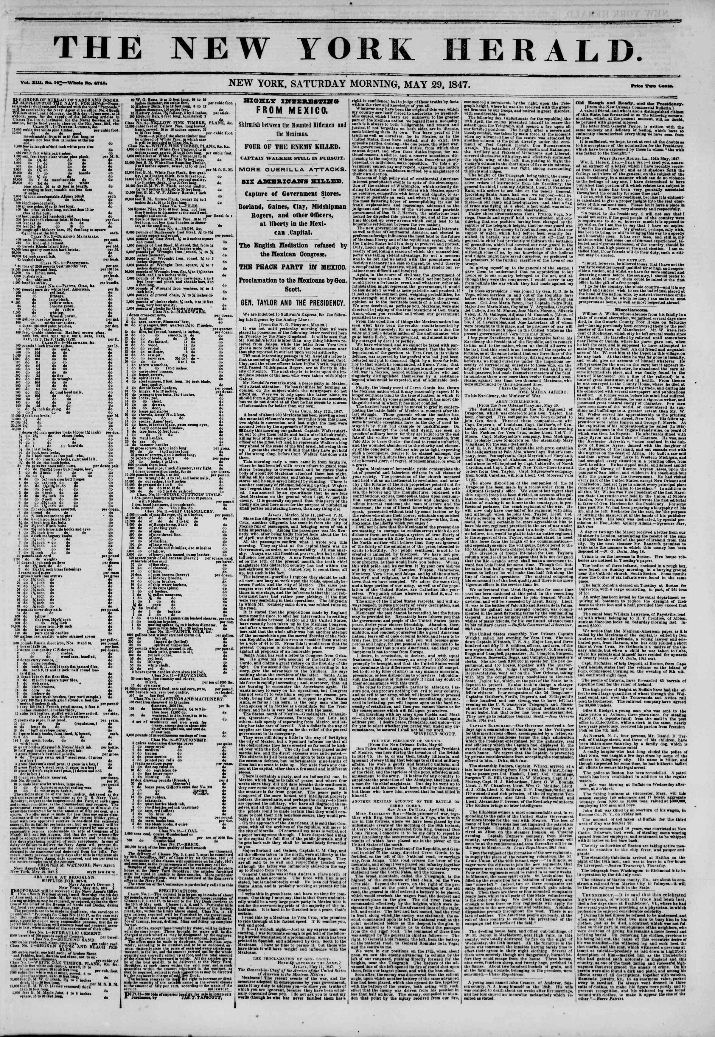 Newspaper of The New York Herald dated May 29, 1847 Page 1