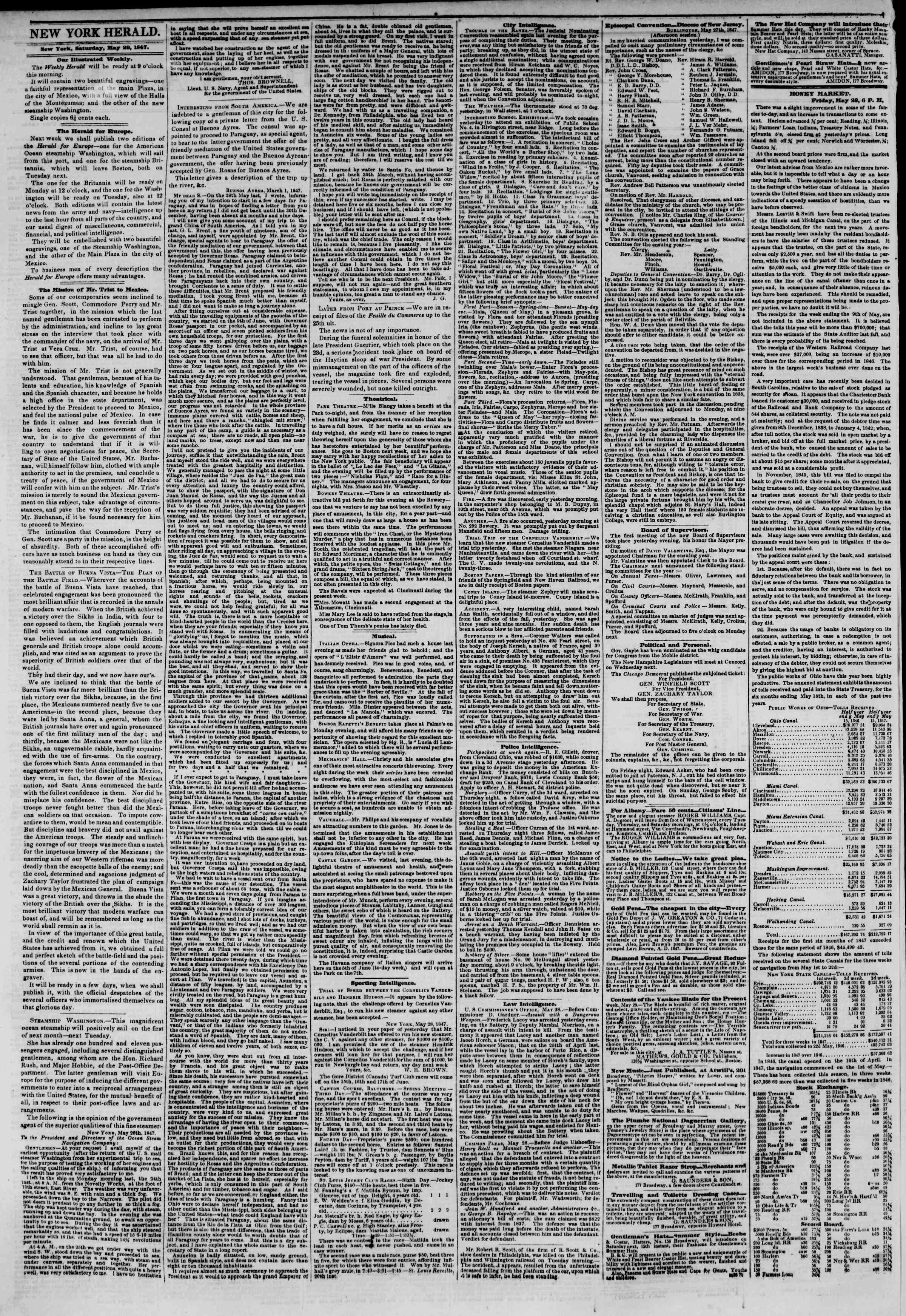 Newspaper of The New York Herald dated May 29, 1847 Page 2