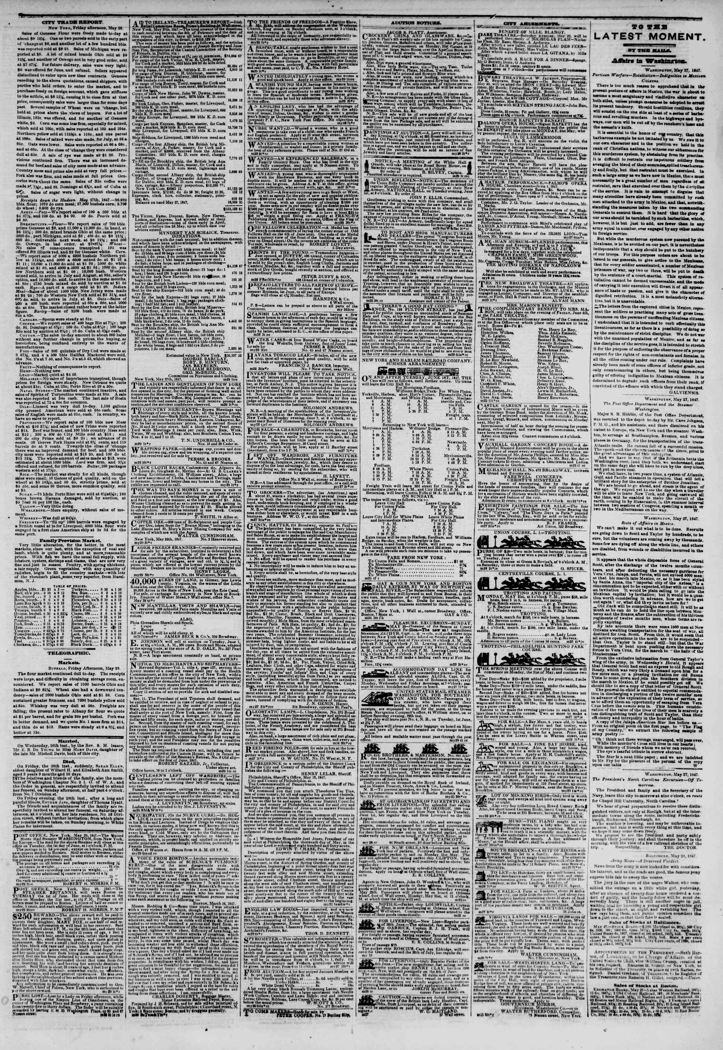 Newspaper of The New York Herald dated May 29, 1847 Page 3