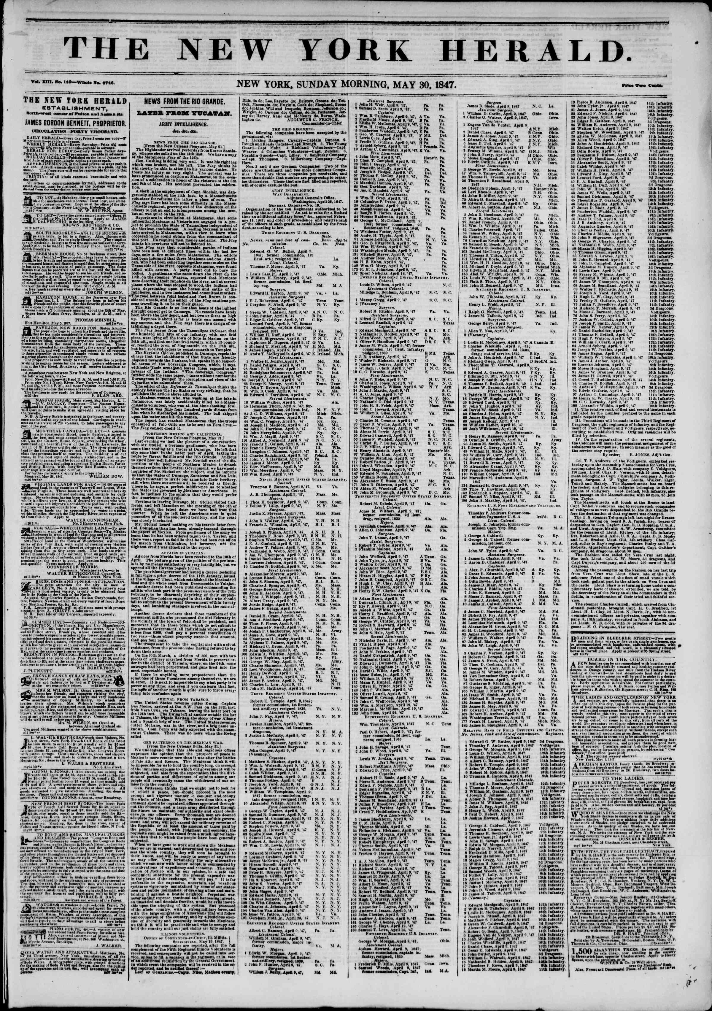 Newspaper of The New York Herald dated May 30, 1847 Page 1