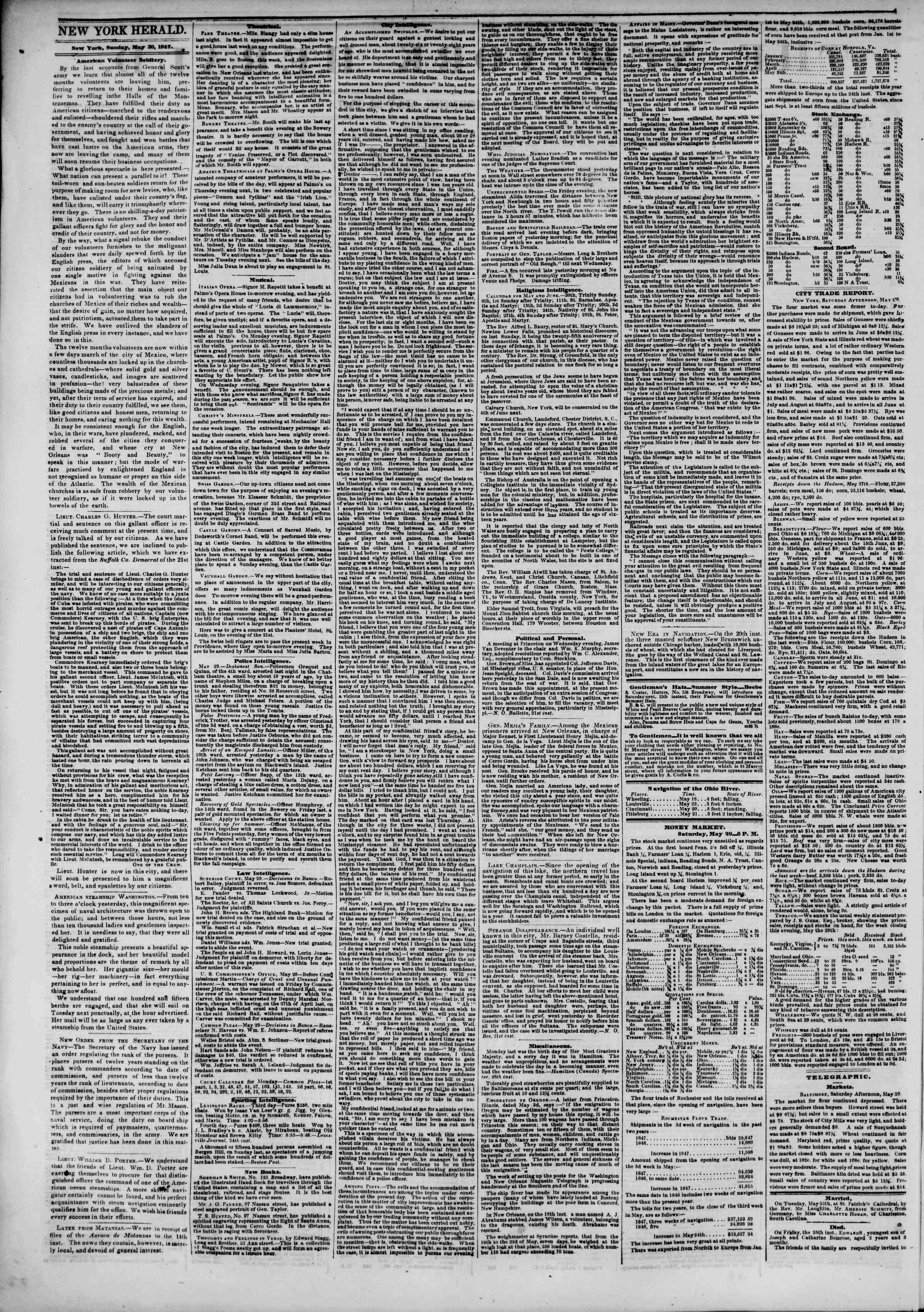 Newspaper of The New York Herald dated May 30, 1847 Page 2