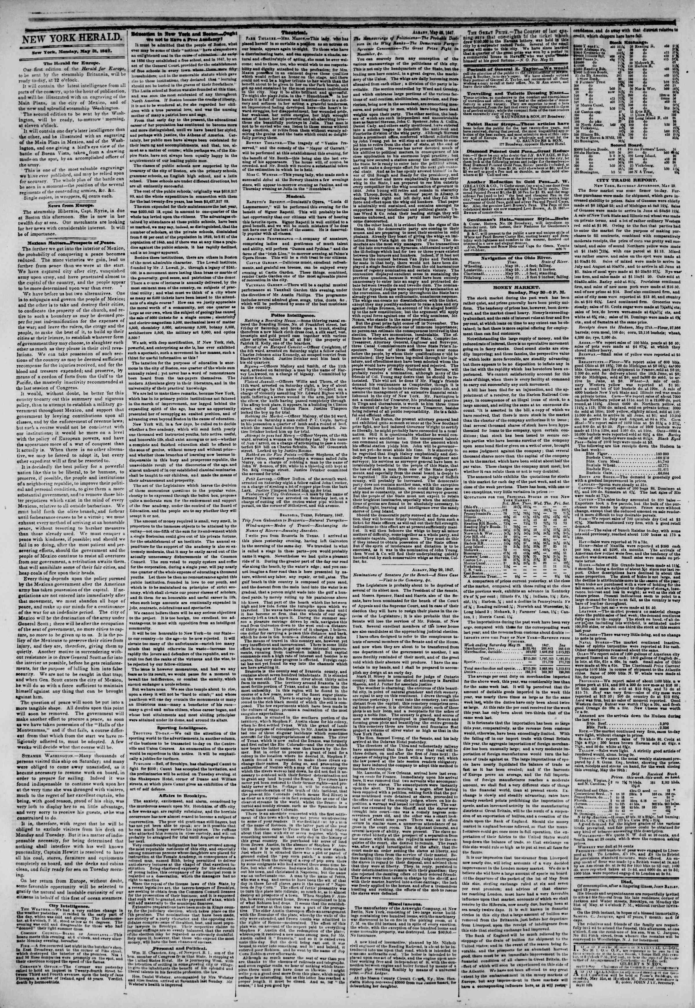 31 Mayıs 1847 tarihli The New York Herald Gazetesi Sayfa 2