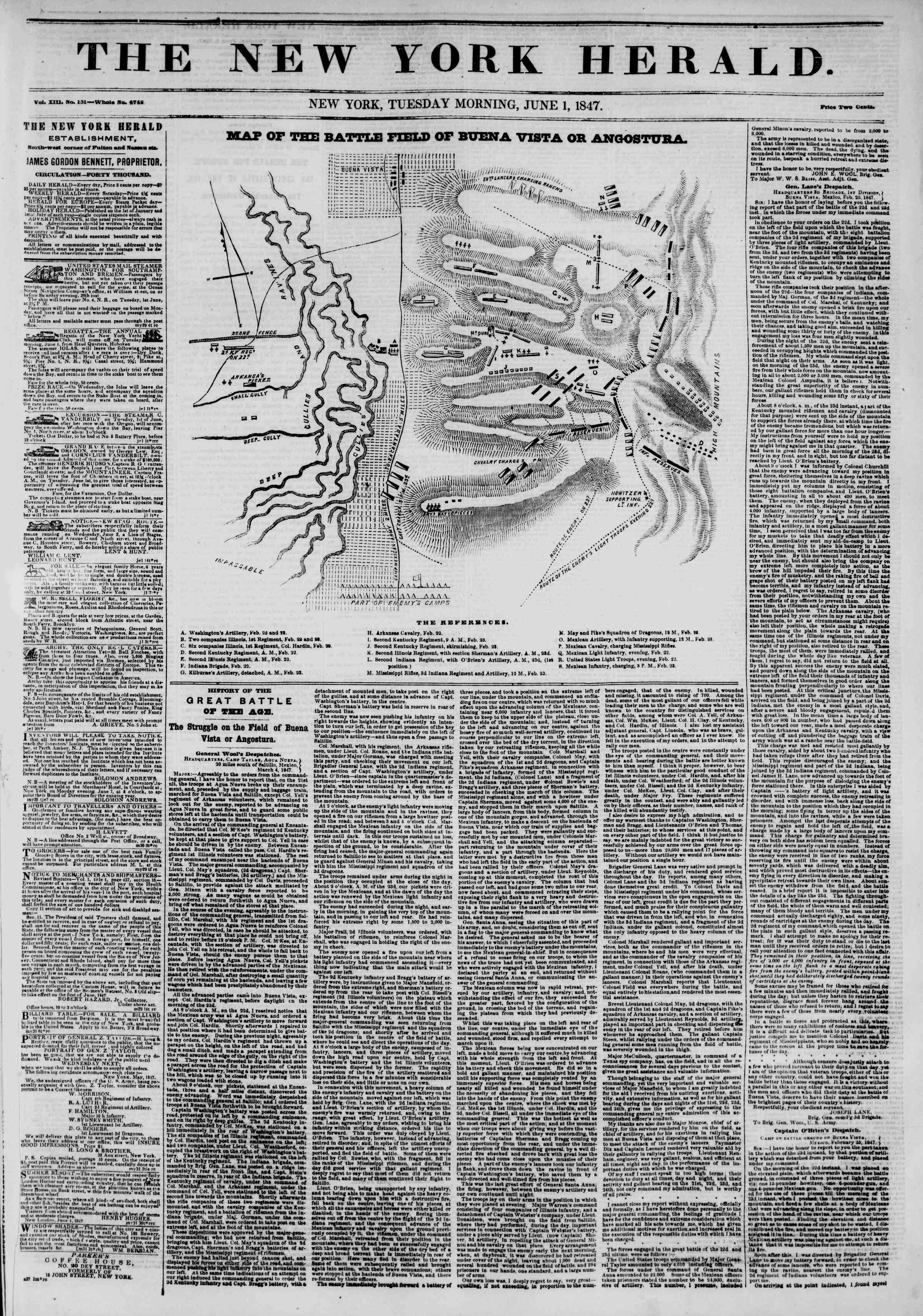 1 Haziran 1847 tarihli The New York Herald Gazetesi Sayfa 1