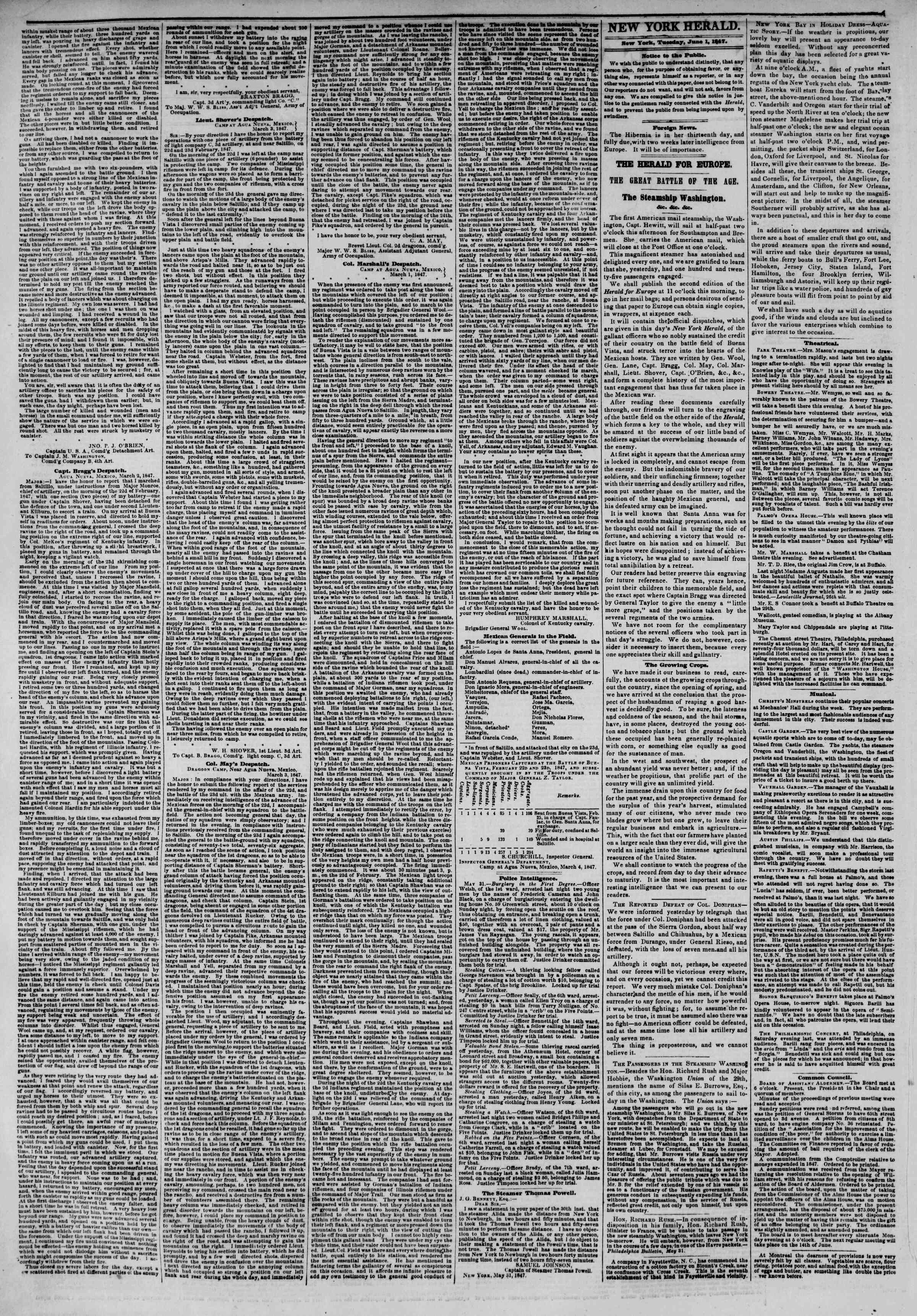 Newspaper of The New York Herald dated June 1, 1847 Page 2