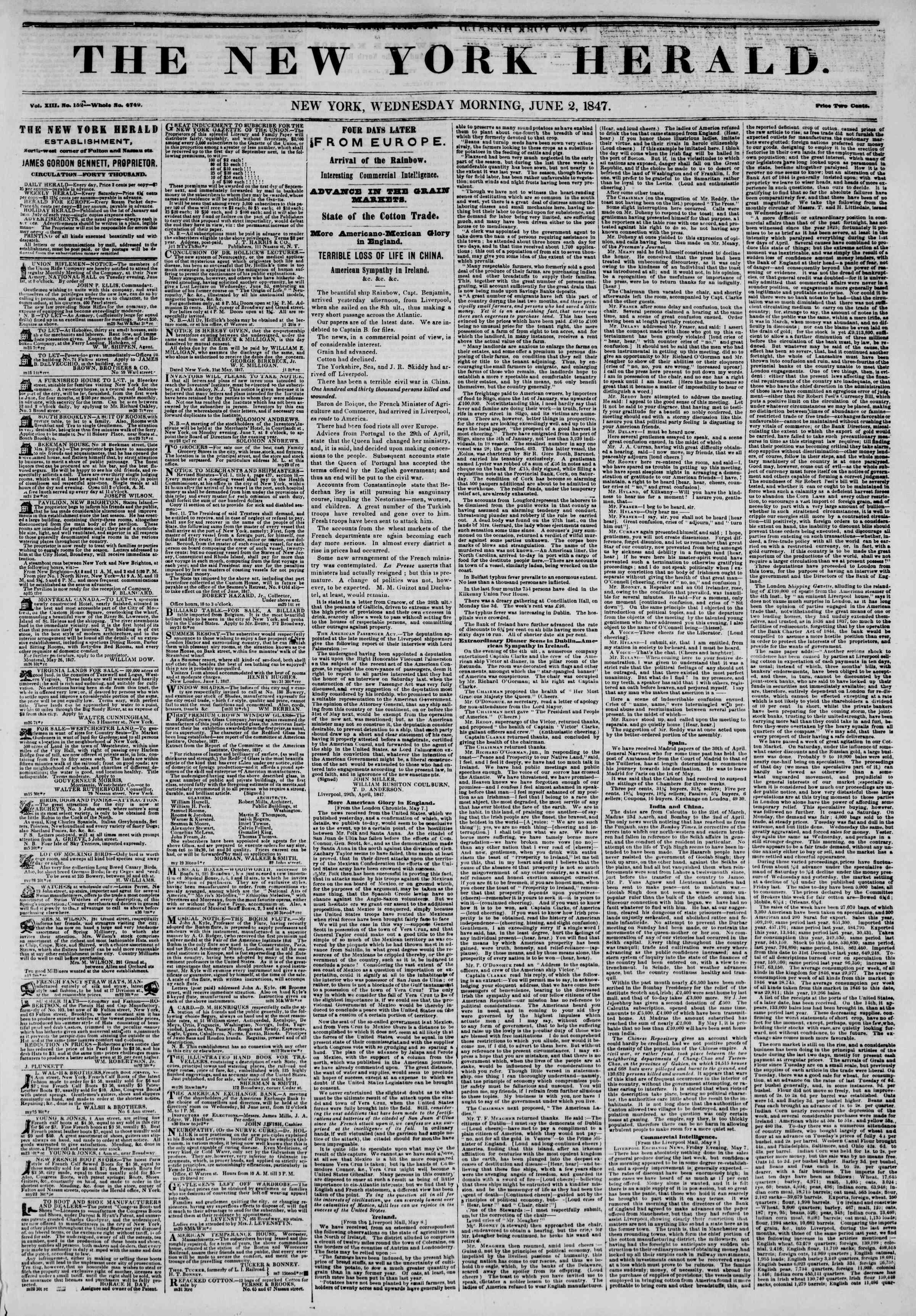 2 Haziran 1847 tarihli The New York Herald Gazetesi Sayfa 1