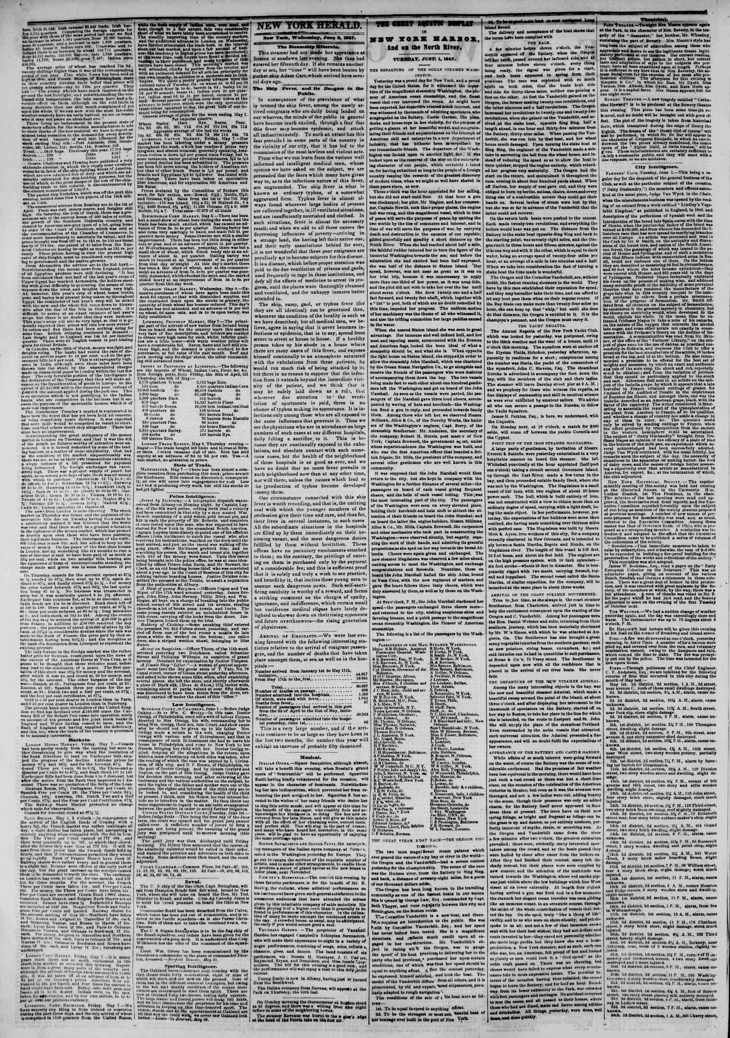 Newspaper of The New York Herald dated June 2, 1847 Page 2