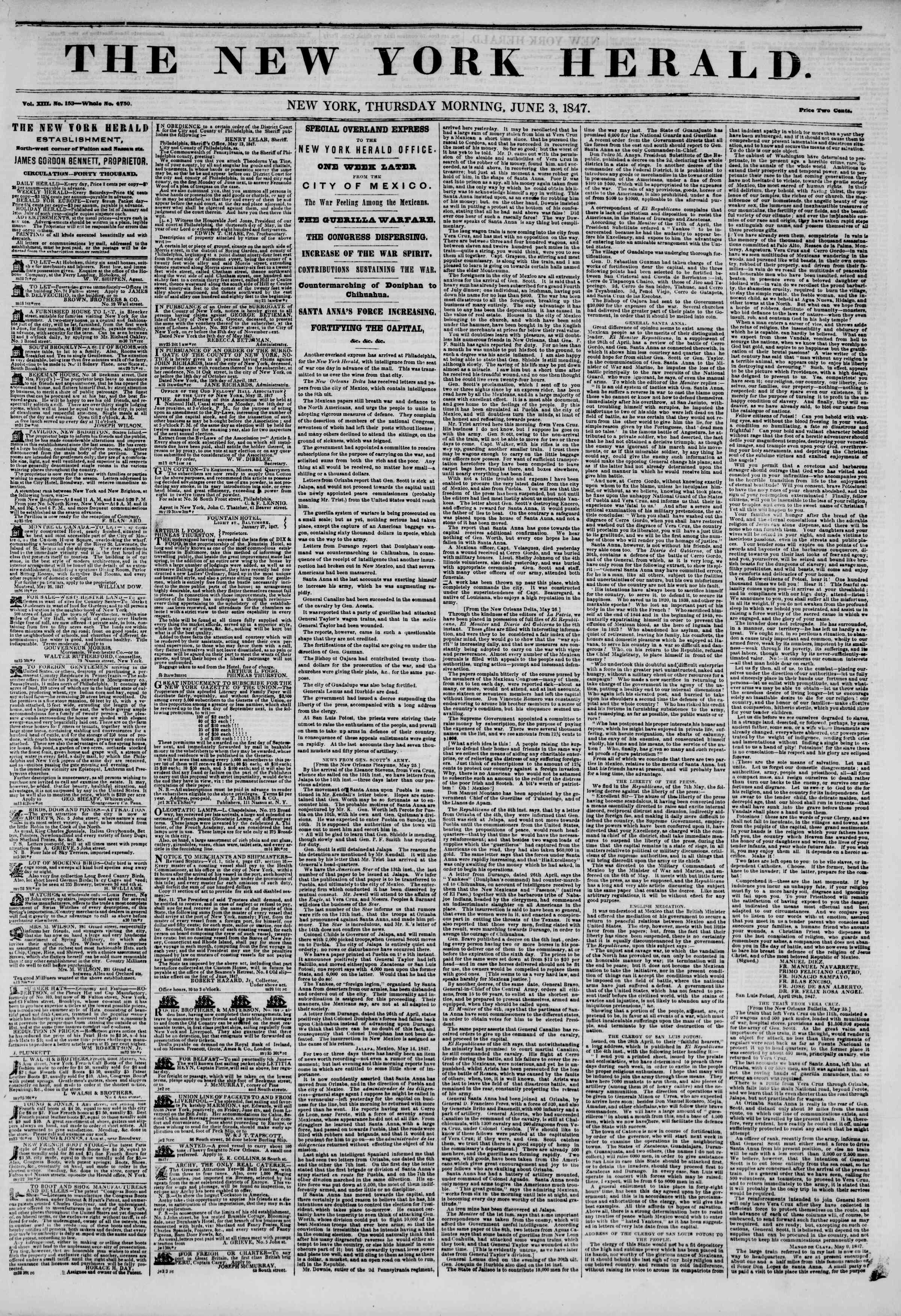 3 Haziran 1847 tarihli The New York Herald Gazetesi Sayfa 1