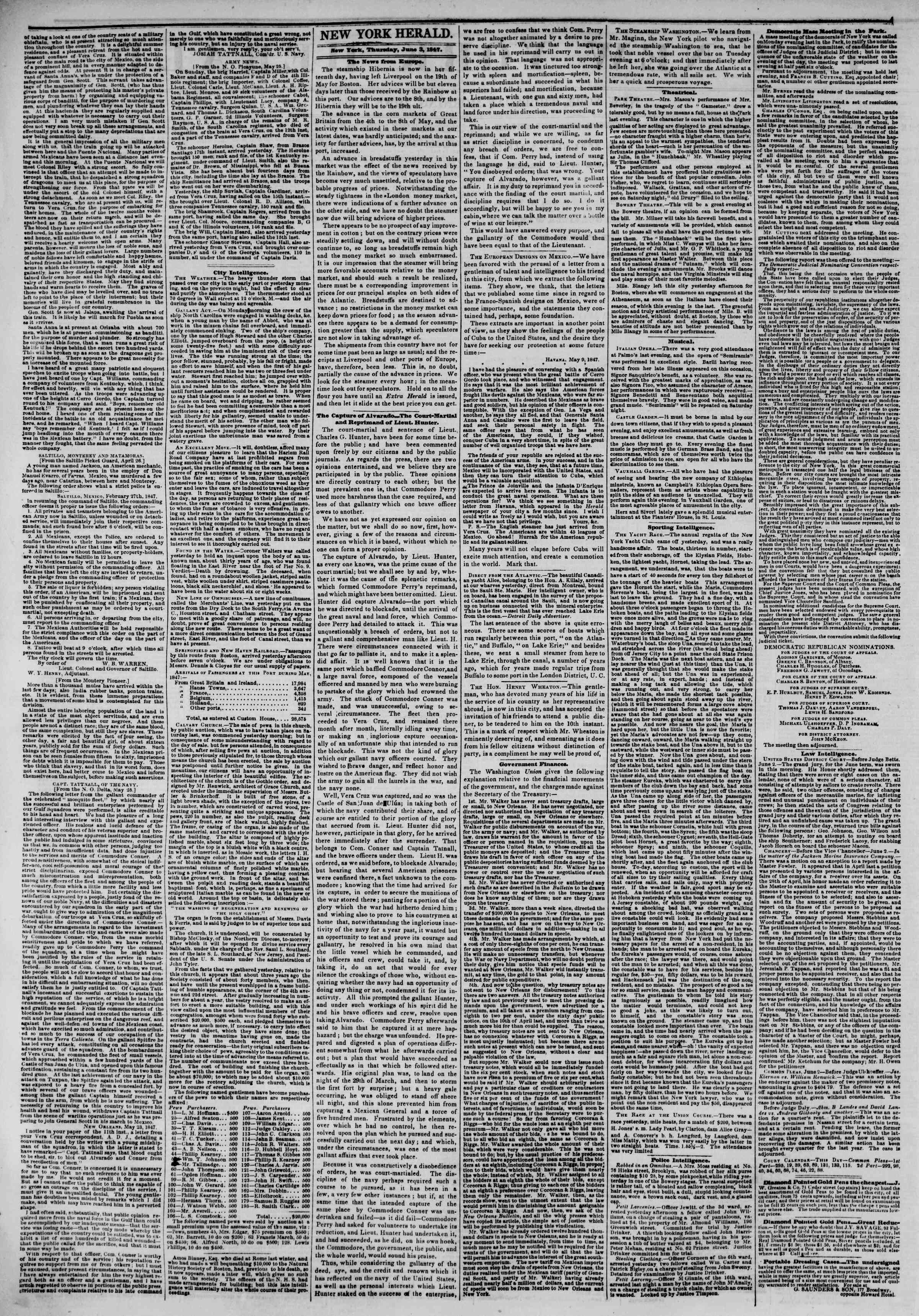 Newspaper of The New York Herald dated June 3, 1847 Page 2