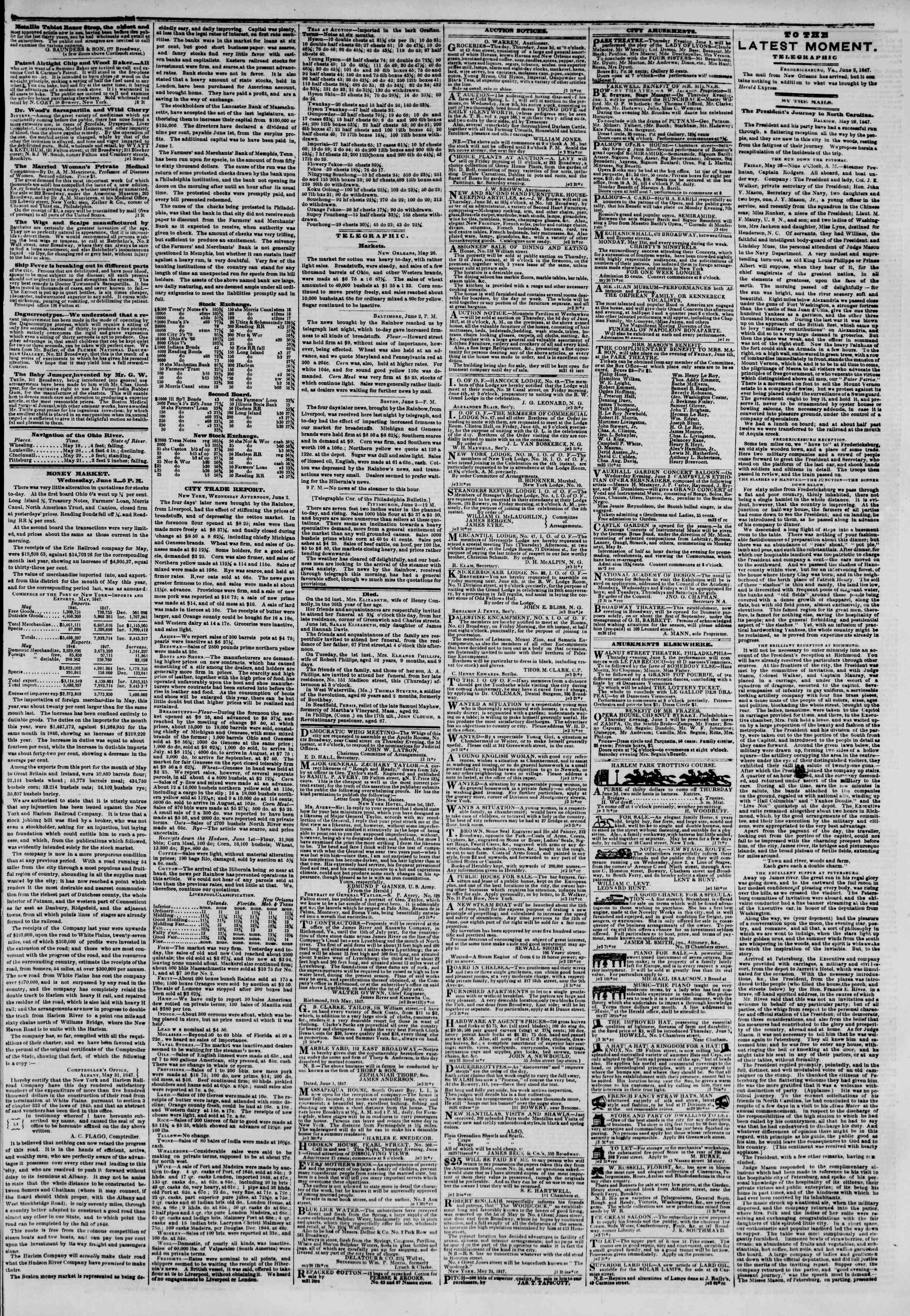 Newspaper of The New York Herald dated June 3, 1847 Page 3