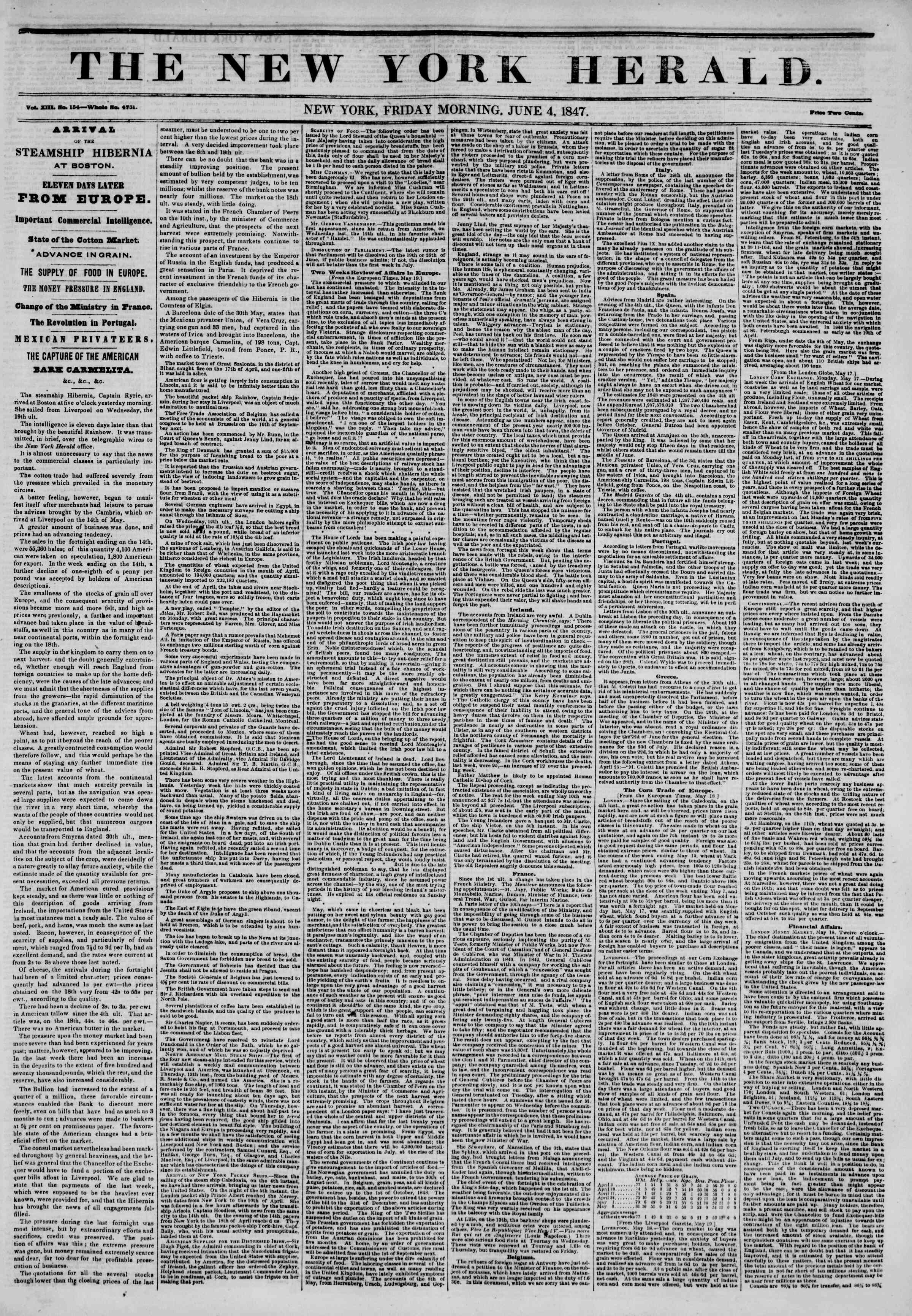 Newspaper of The New York Herald dated June 4, 1847 Page 1