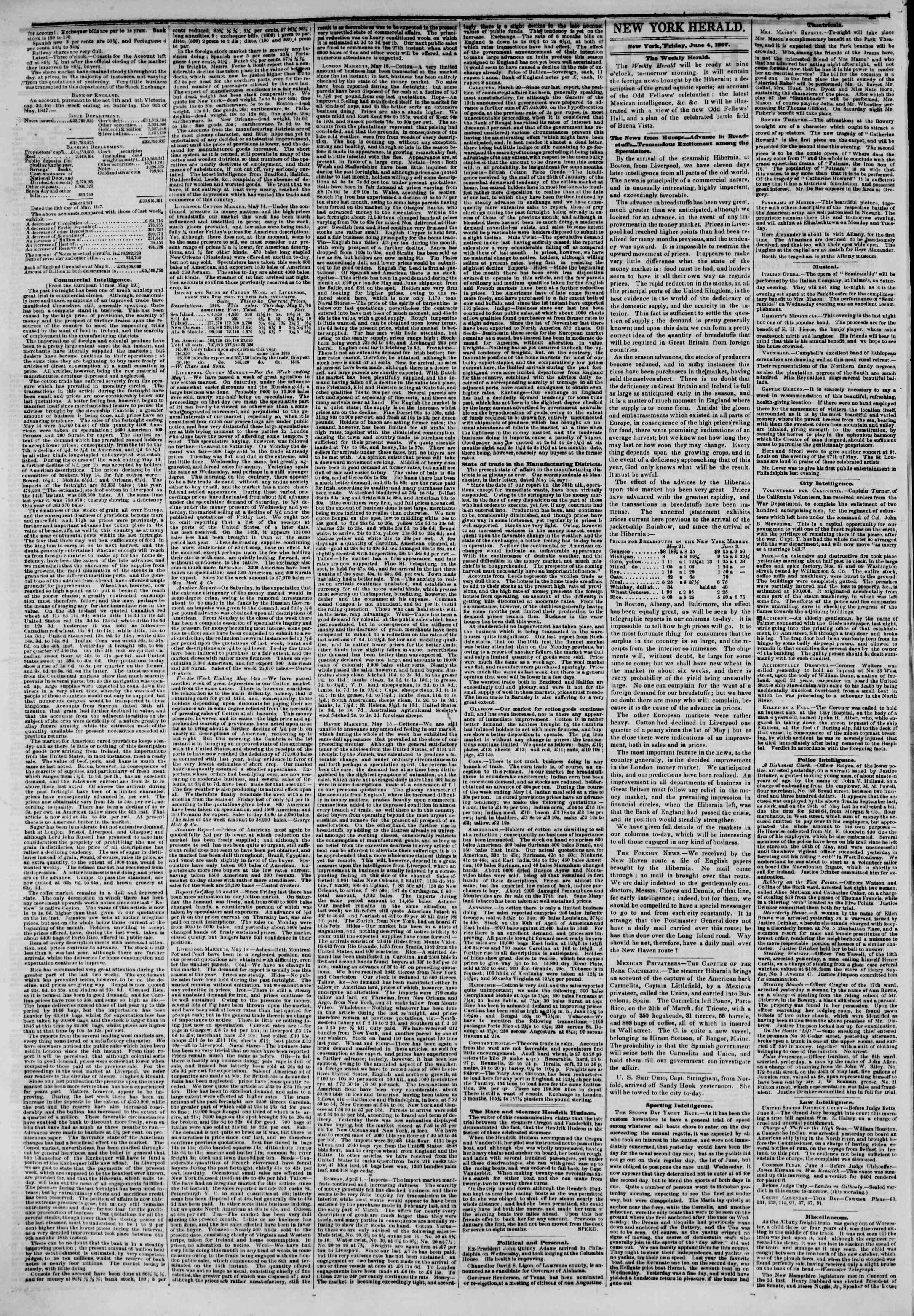 Newspaper of The New York Herald dated June 4, 1847 Page 2
