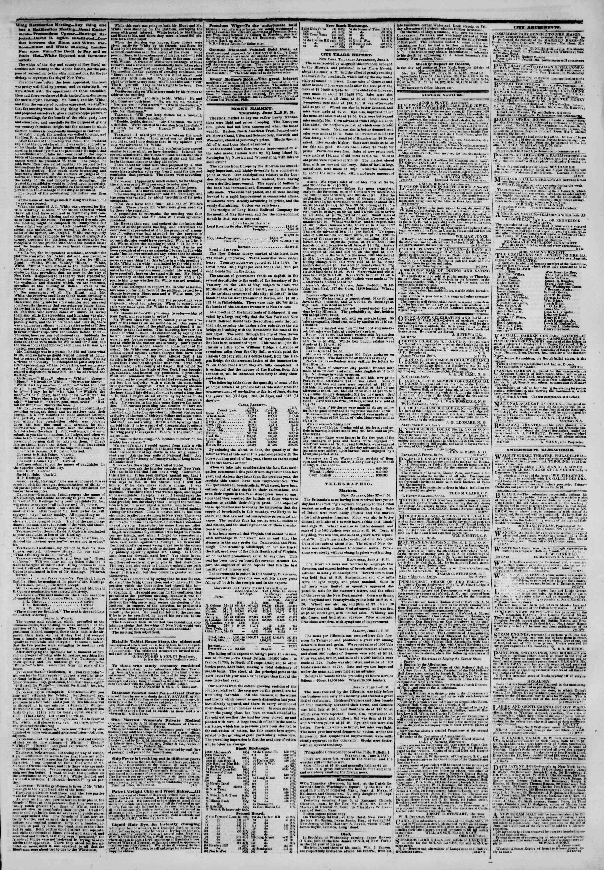 Newspaper of The New York Herald dated June 4, 1847 Page 3