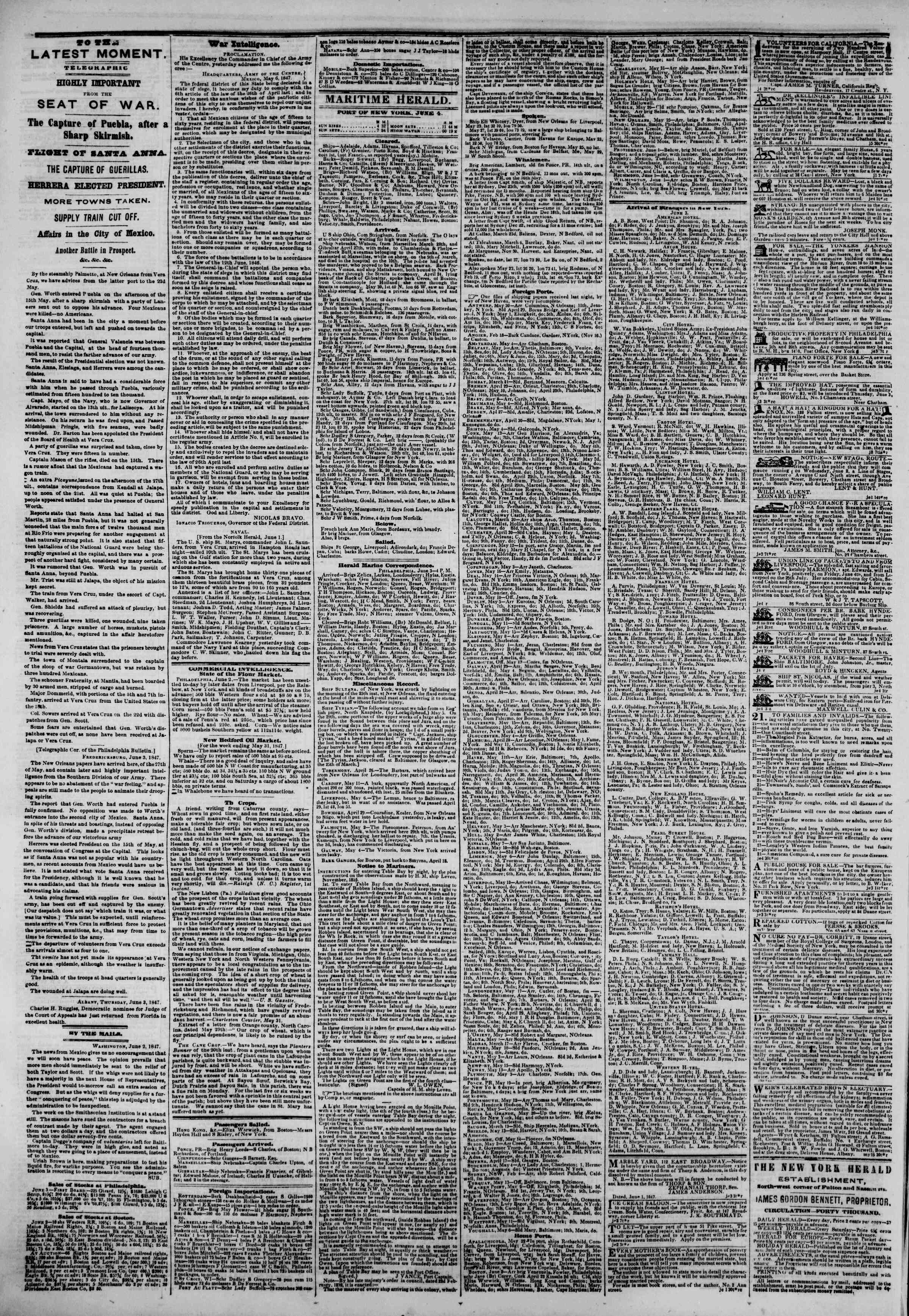 Newspaper of The New York Herald dated June 4, 1847 Page 4