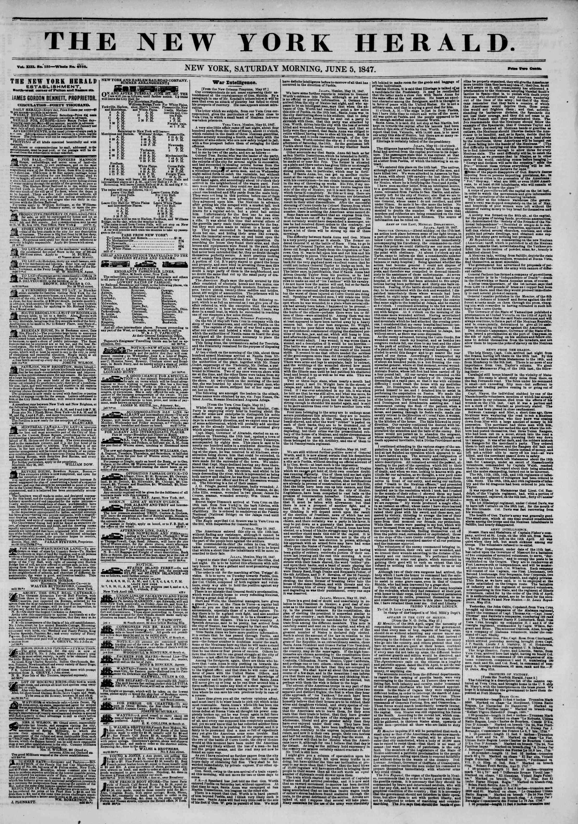 Newspaper of The New York Herald dated June 5, 1847 Page 1