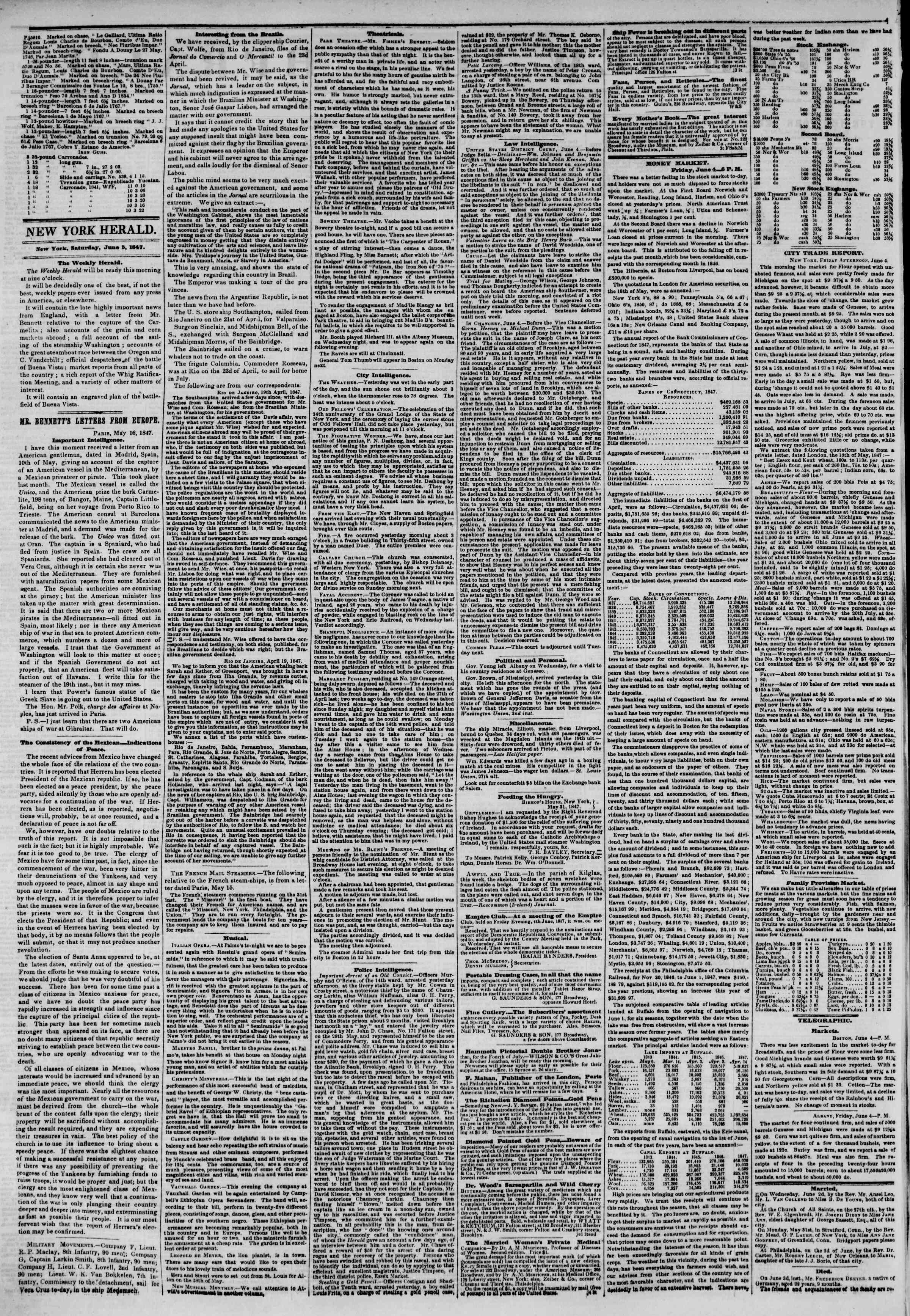Newspaper of The New York Herald dated June 5, 1847 Page 2