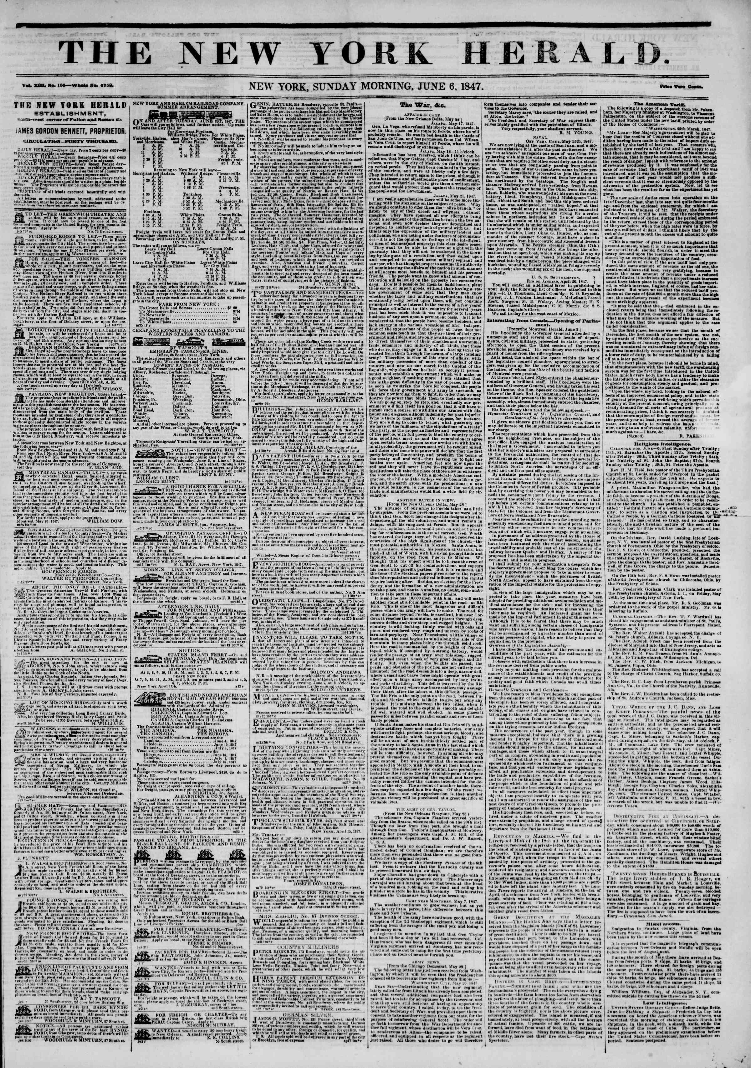 Newspaper of The New York Herald dated June 6, 1847 Page 1