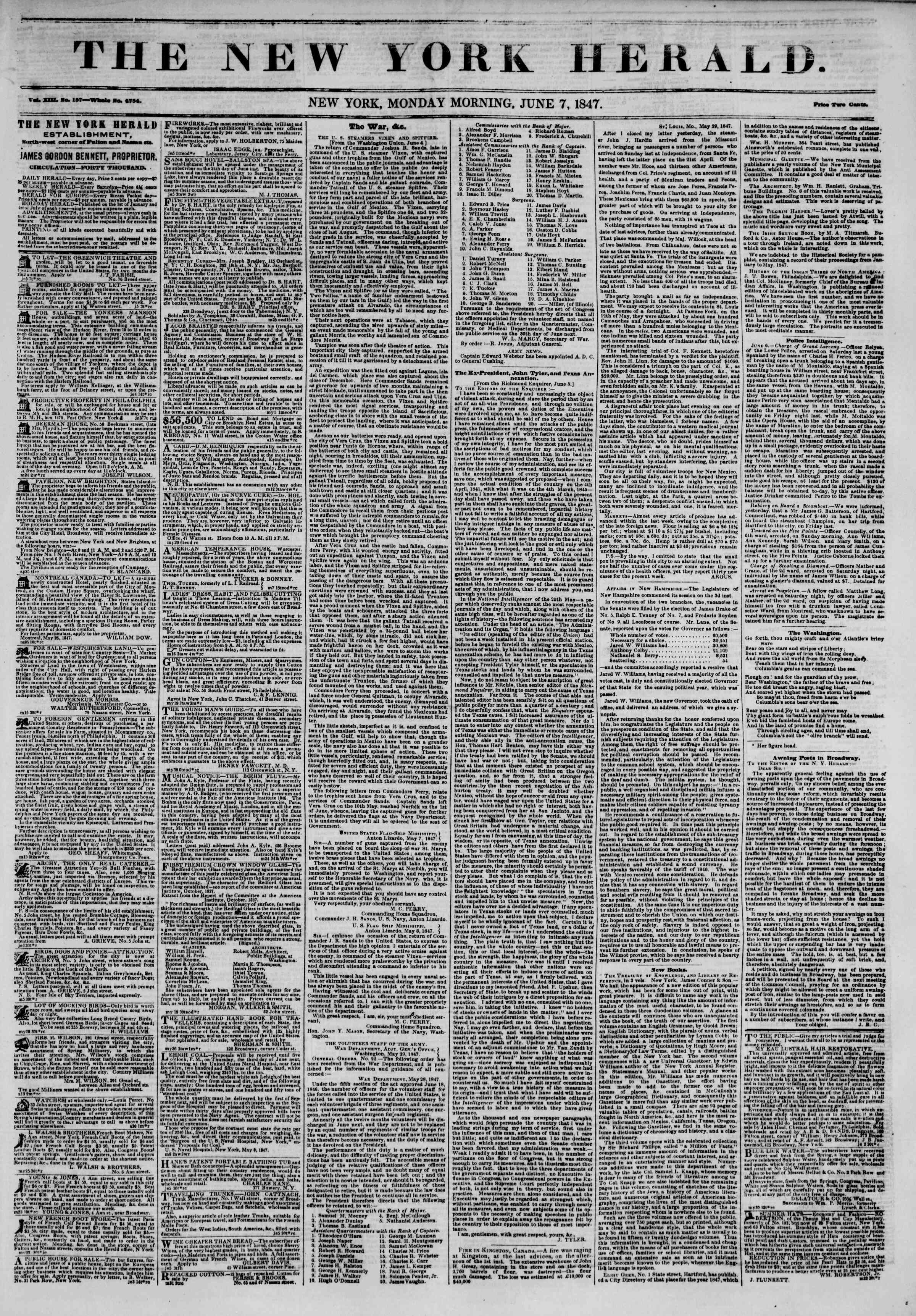 Newspaper of The New York Herald dated June 7, 1847 Page 1