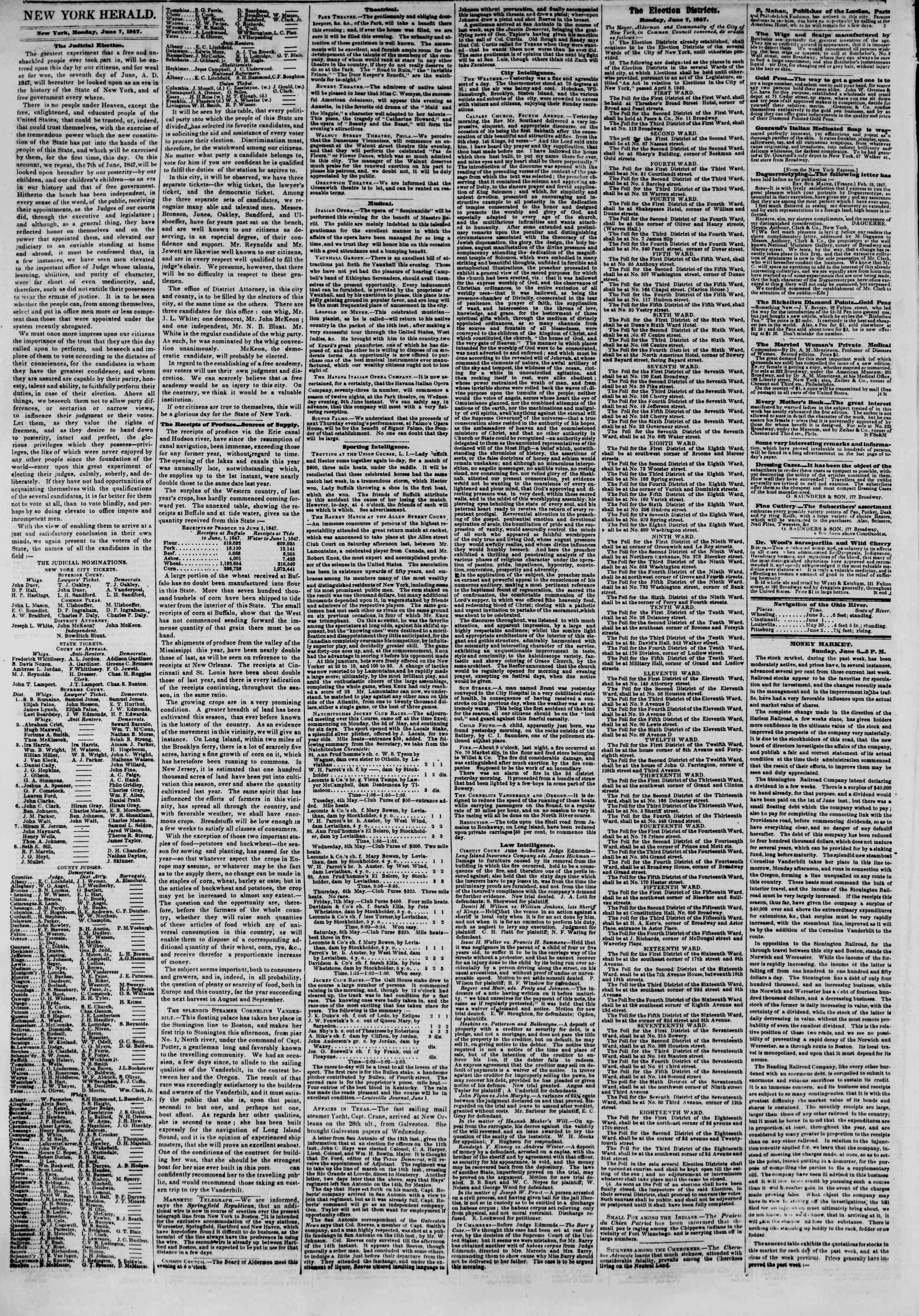 Newspaper of The New York Herald dated 7 Haziran 1847 Page 2