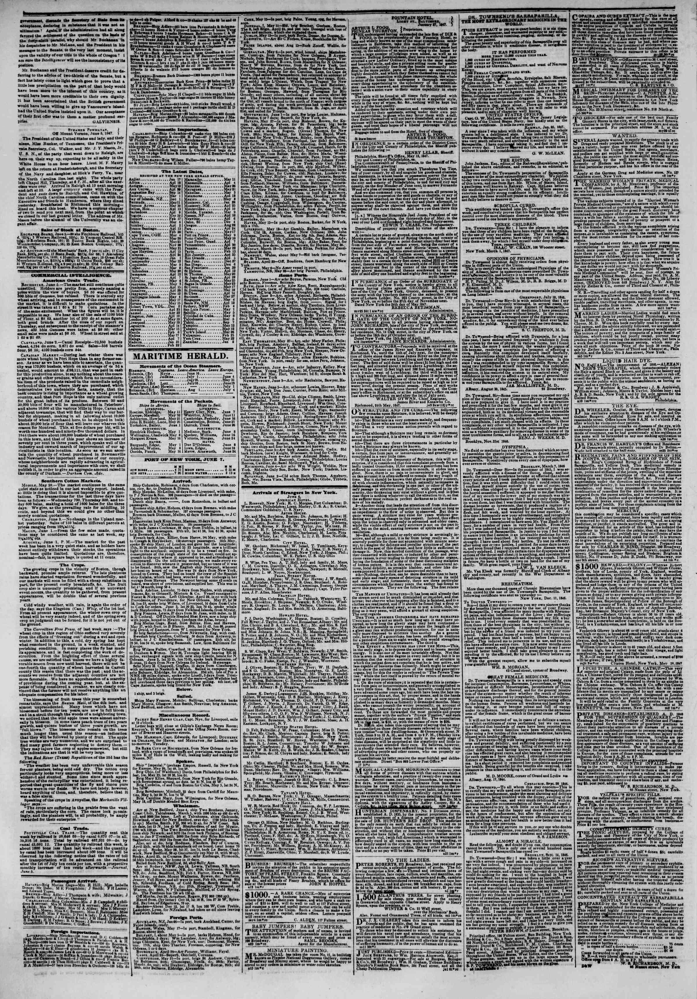 Newspaper of The New York Herald dated June 7, 1847 Page 4