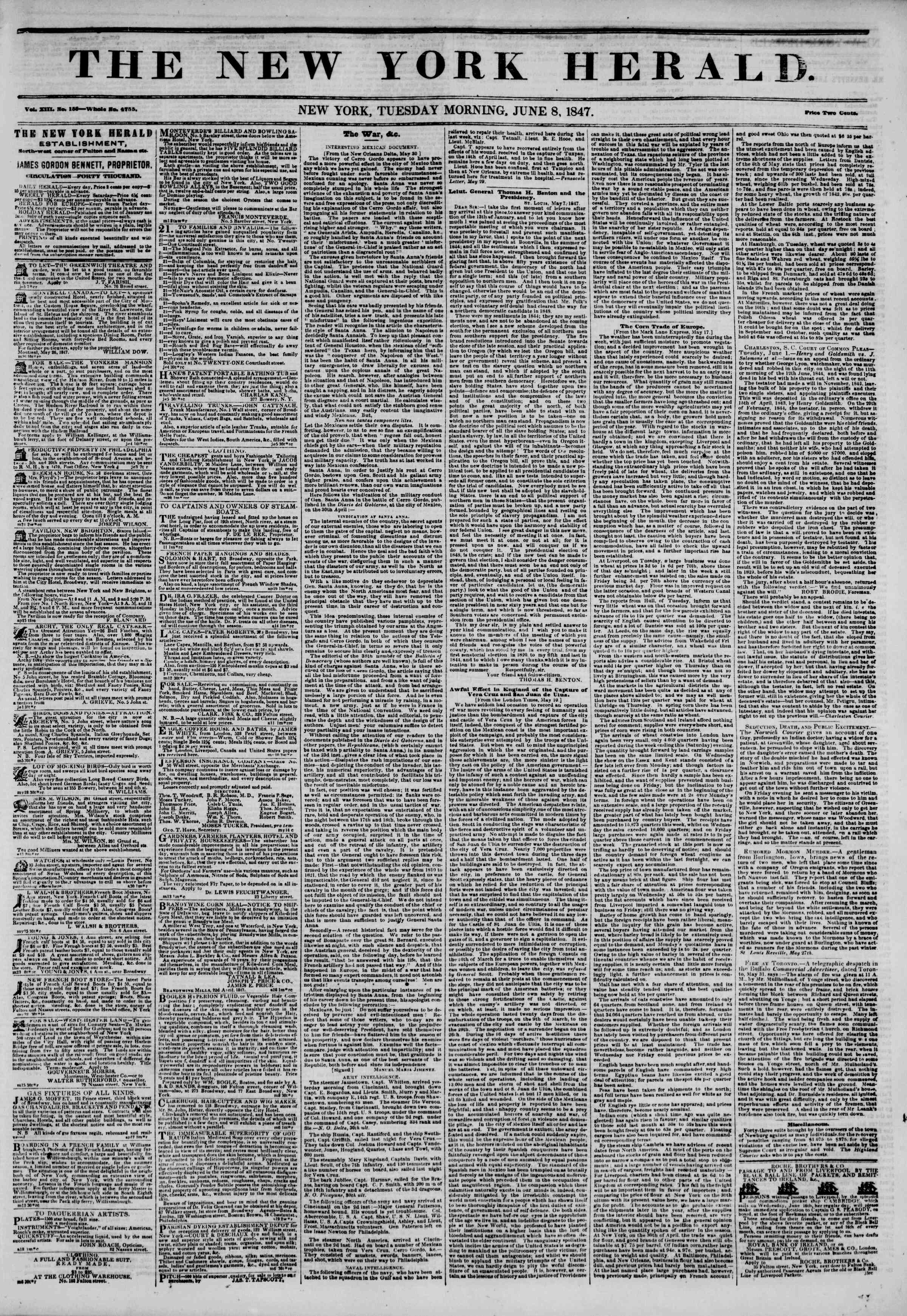 Newspaper of The New York Herald dated June 8, 1847 Page 1
