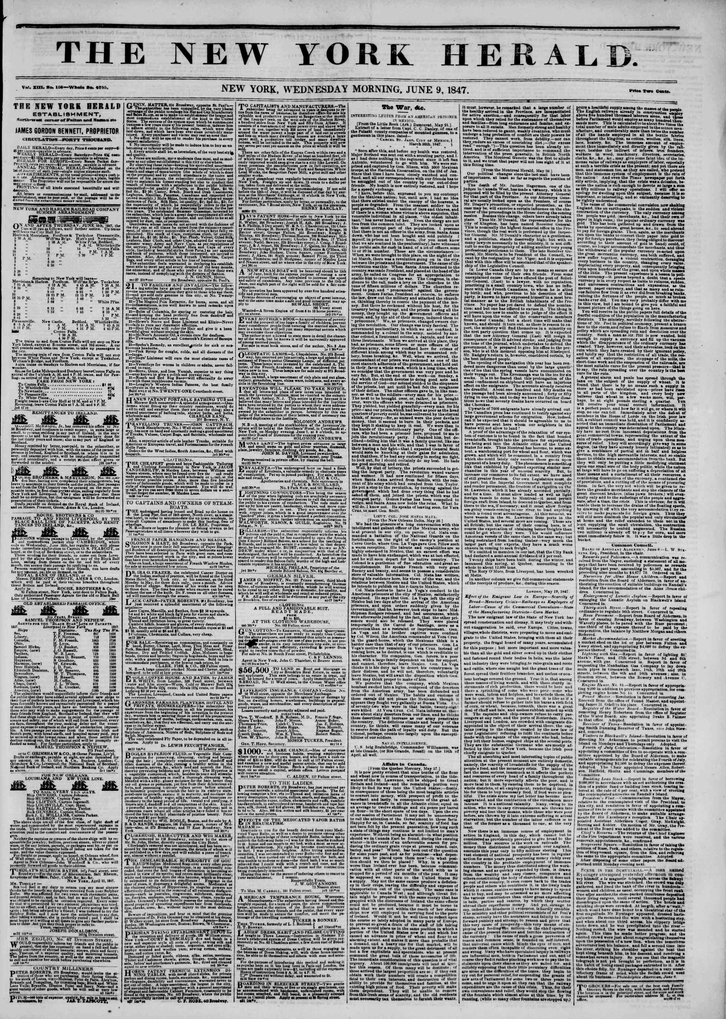 Newspaper of The New York Herald dated June 9, 1847 Page 1