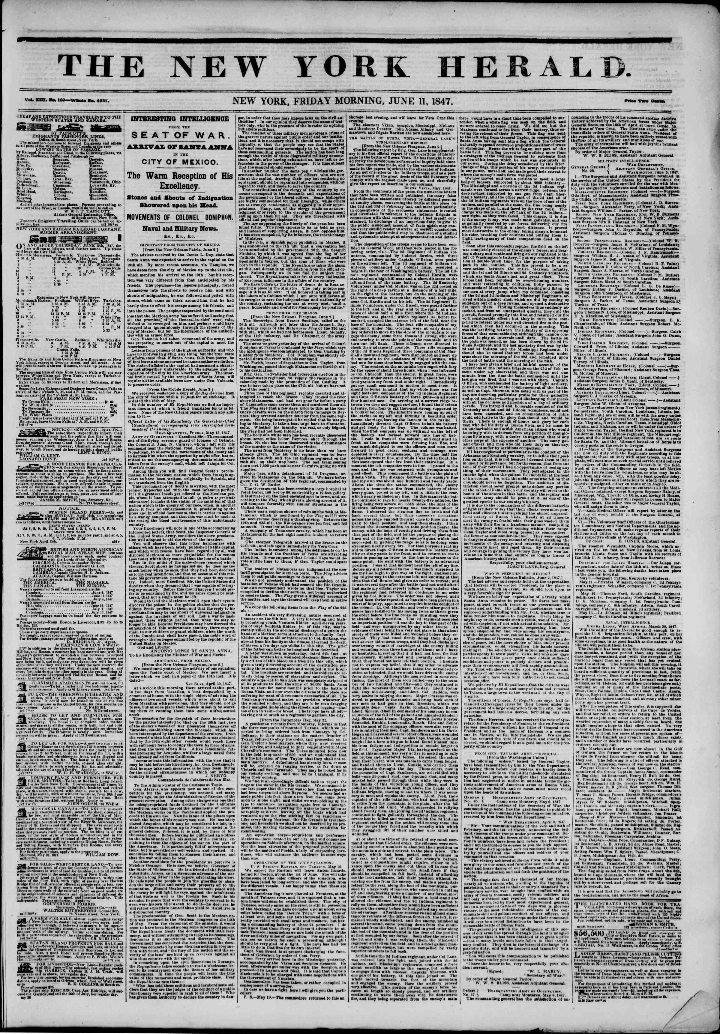 Newspaper of The New York Herald dated June 11, 1847 Page 1