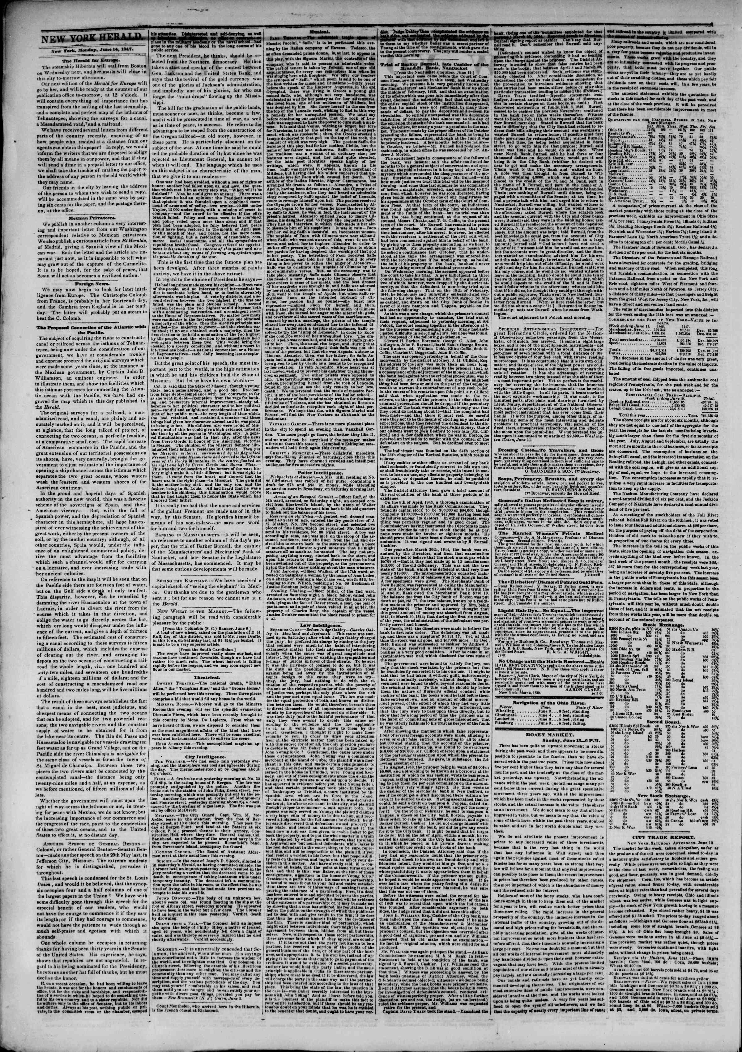Newspaper of The New York Herald dated June 14, 1847 Page 2