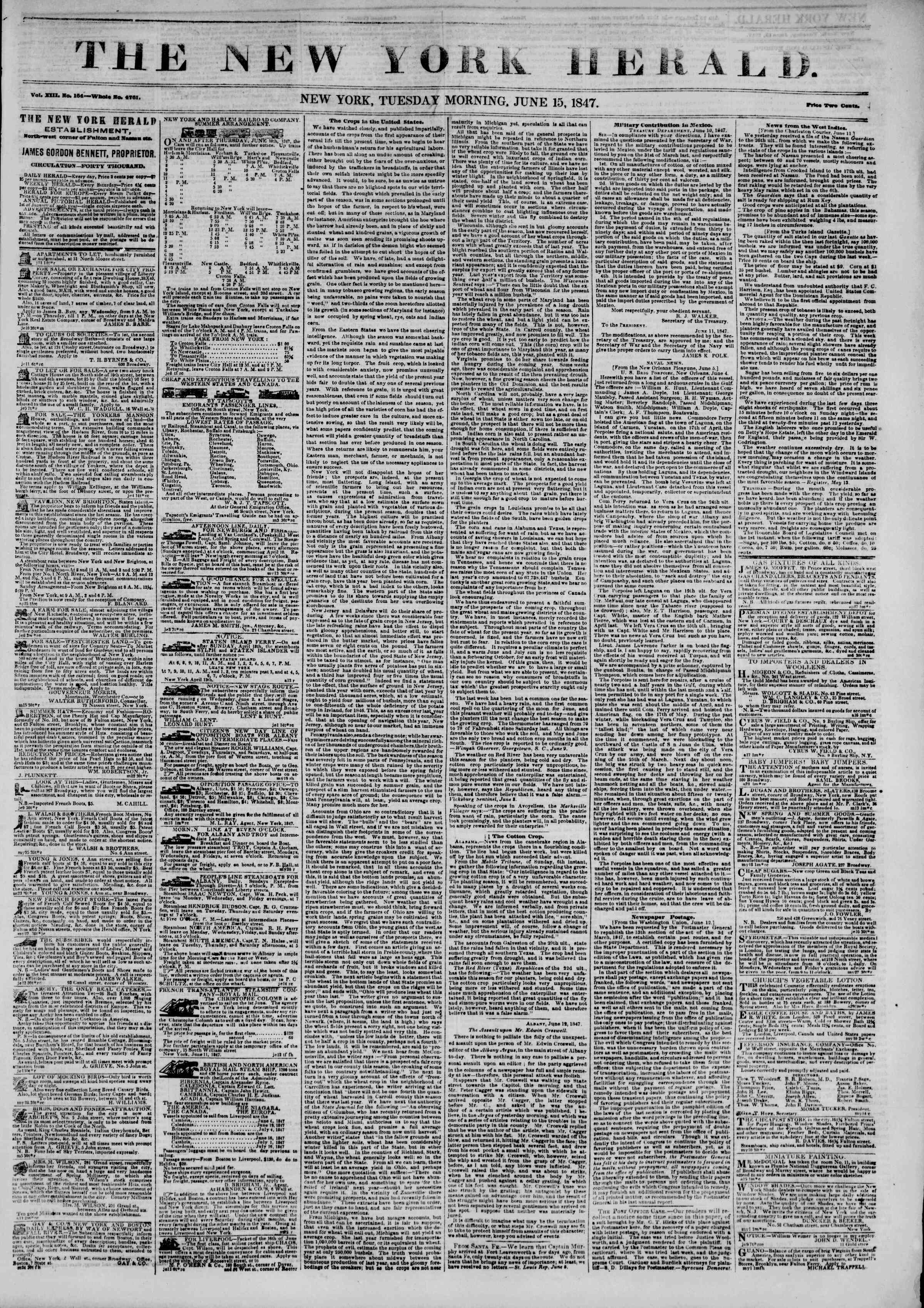 Newspaper of The New York Herald dated June 15, 1847 Page 1