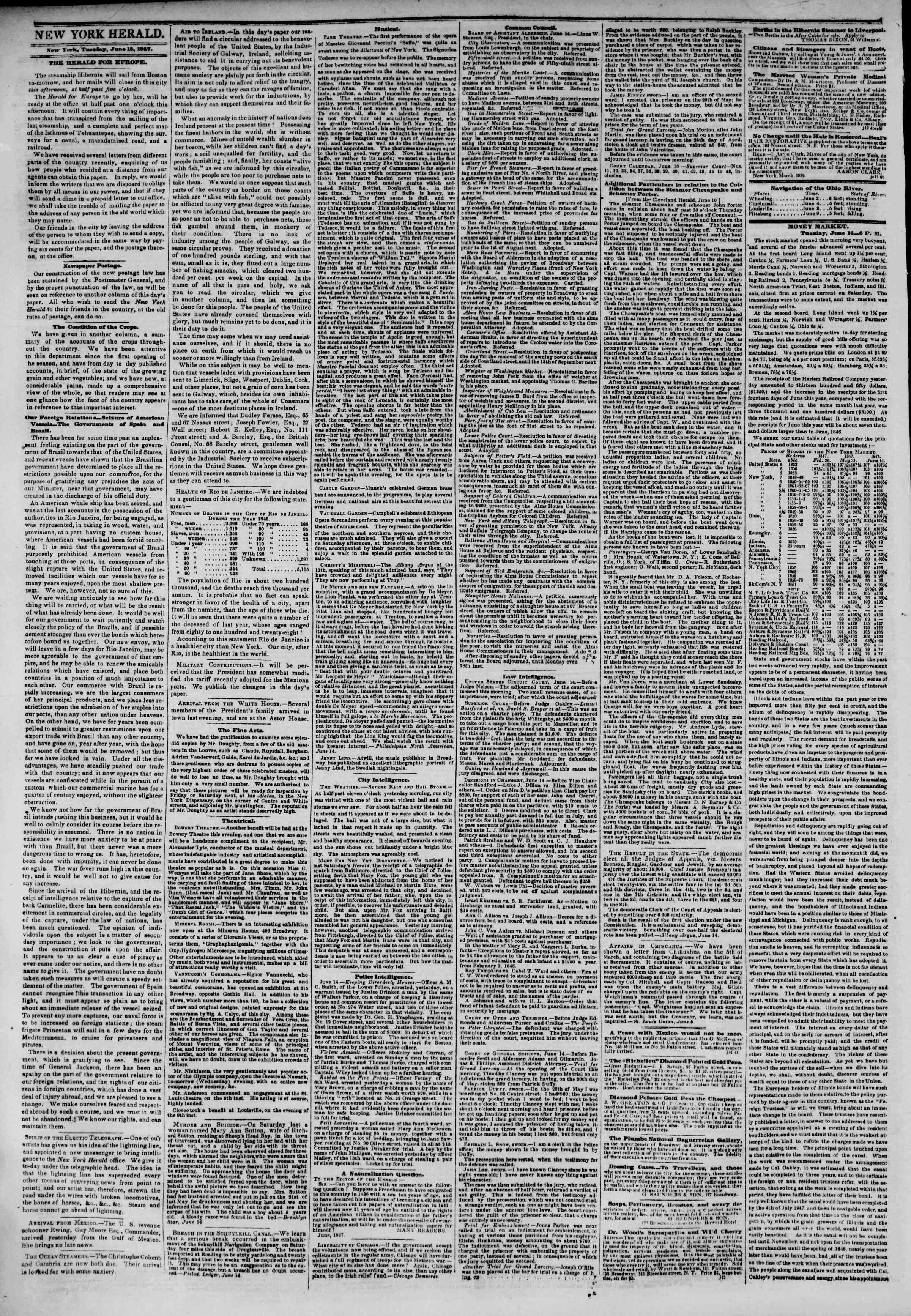 Newspaper of The New York Herald dated June 15, 1847 Page 2