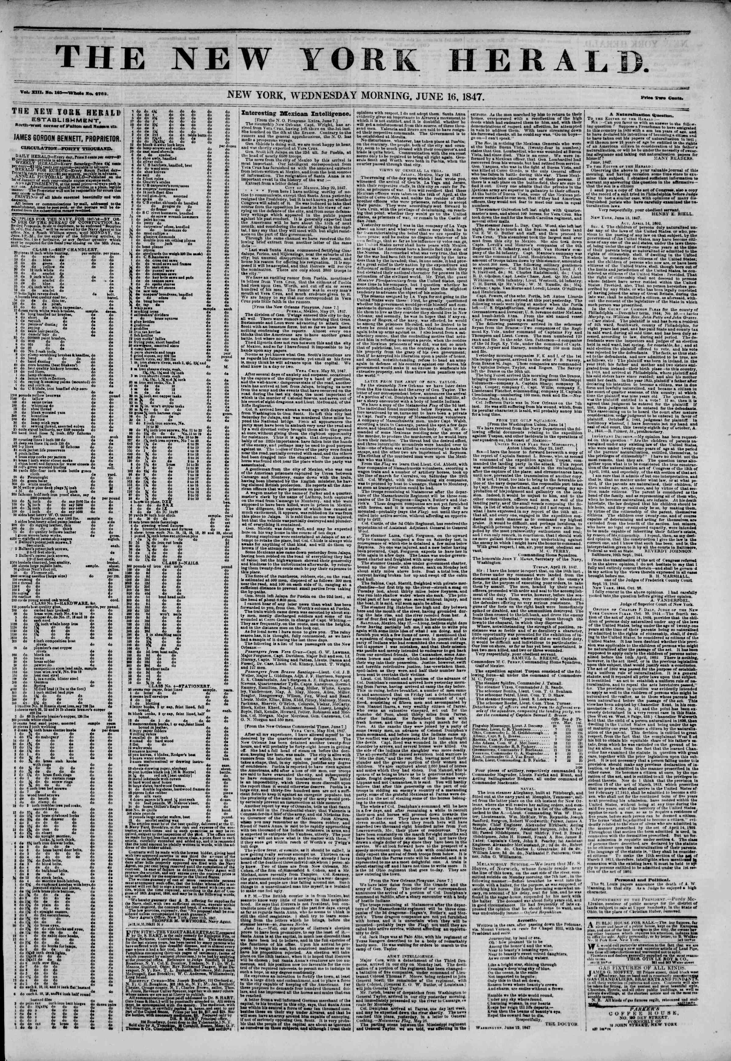 Newspaper of The New York Herald dated June 16, 1847 Page 1