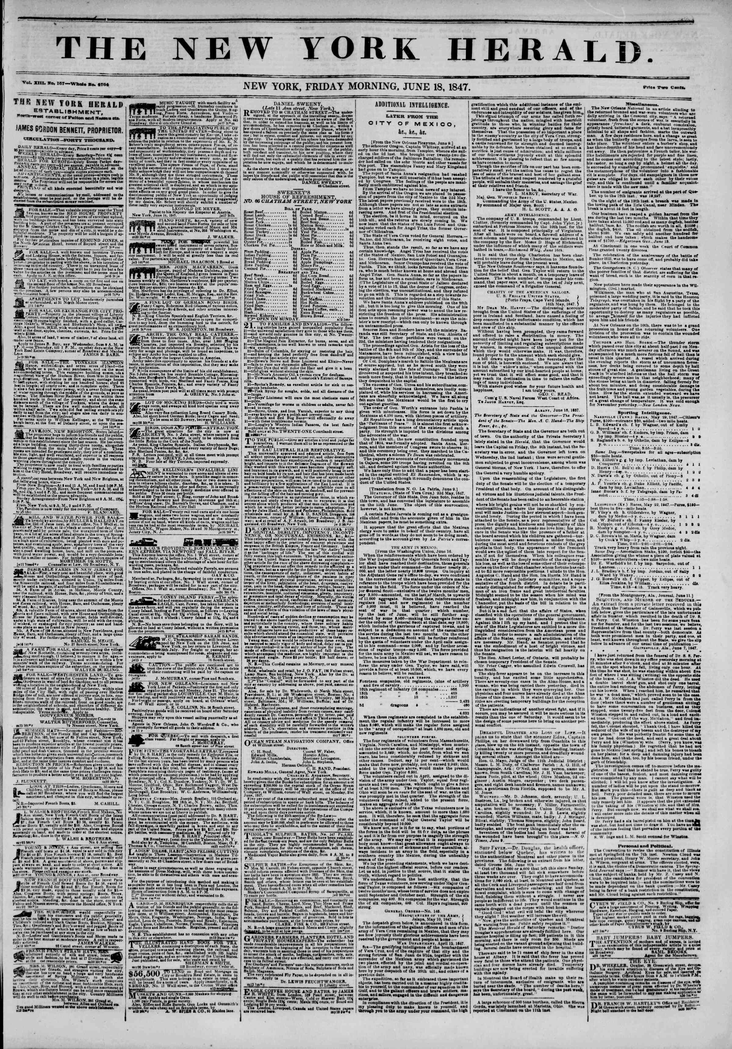 Newspaper of The New York Herald dated June 18, 1847 Page 1