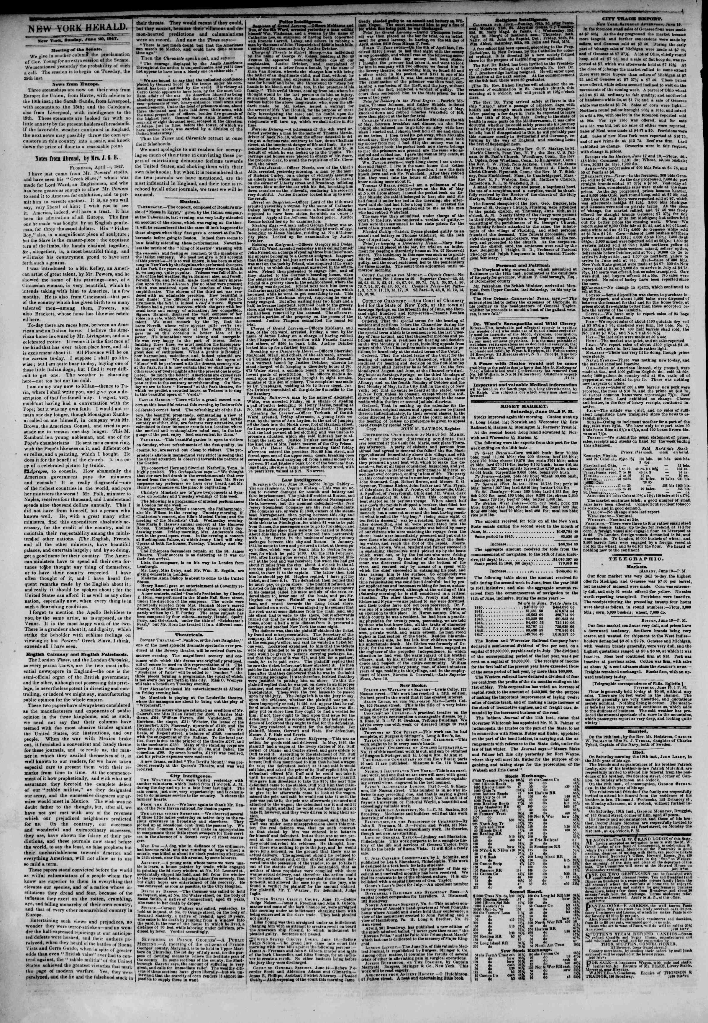 Newspaper of The New York Herald dated June 20, 1847 Page 2