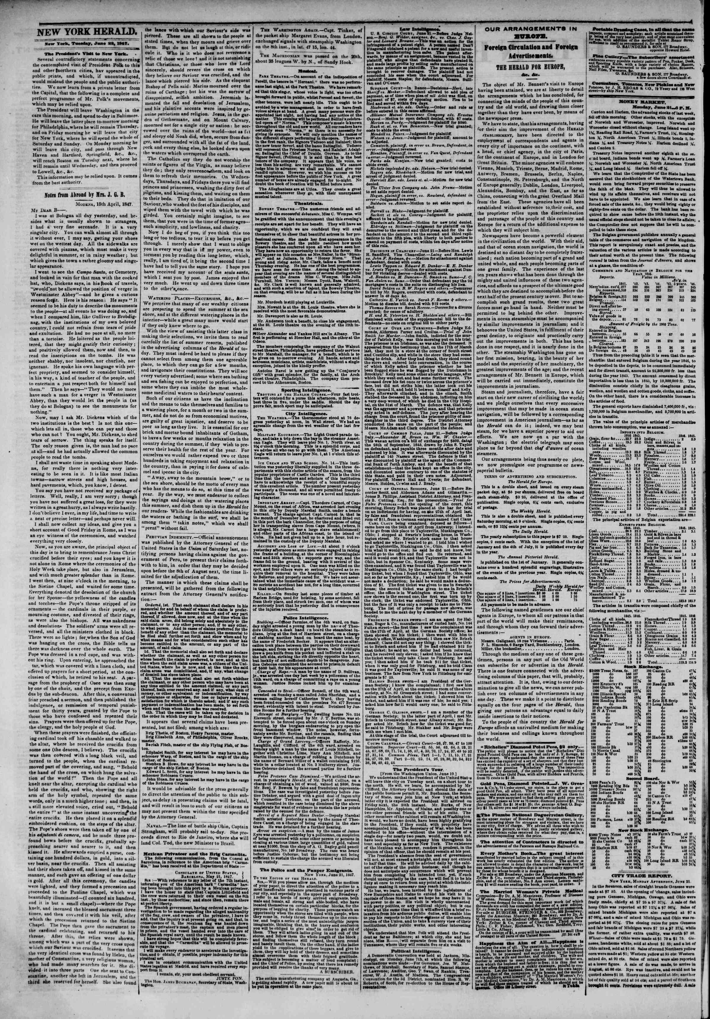Newspaper of The New York Herald dated June 22, 1847 Page 2