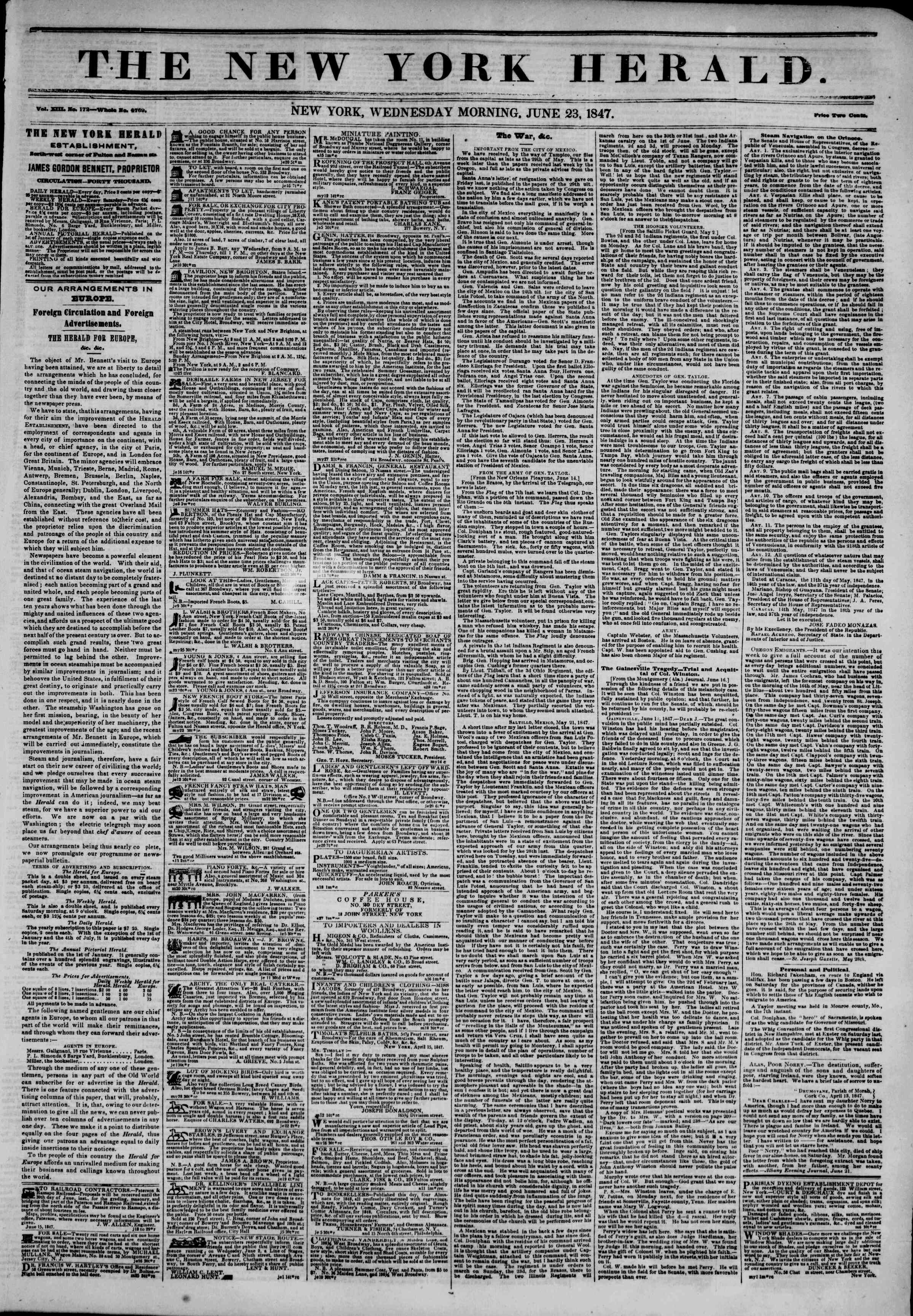 Newspaper of The New York Herald dated June 23, 1847 Page 1