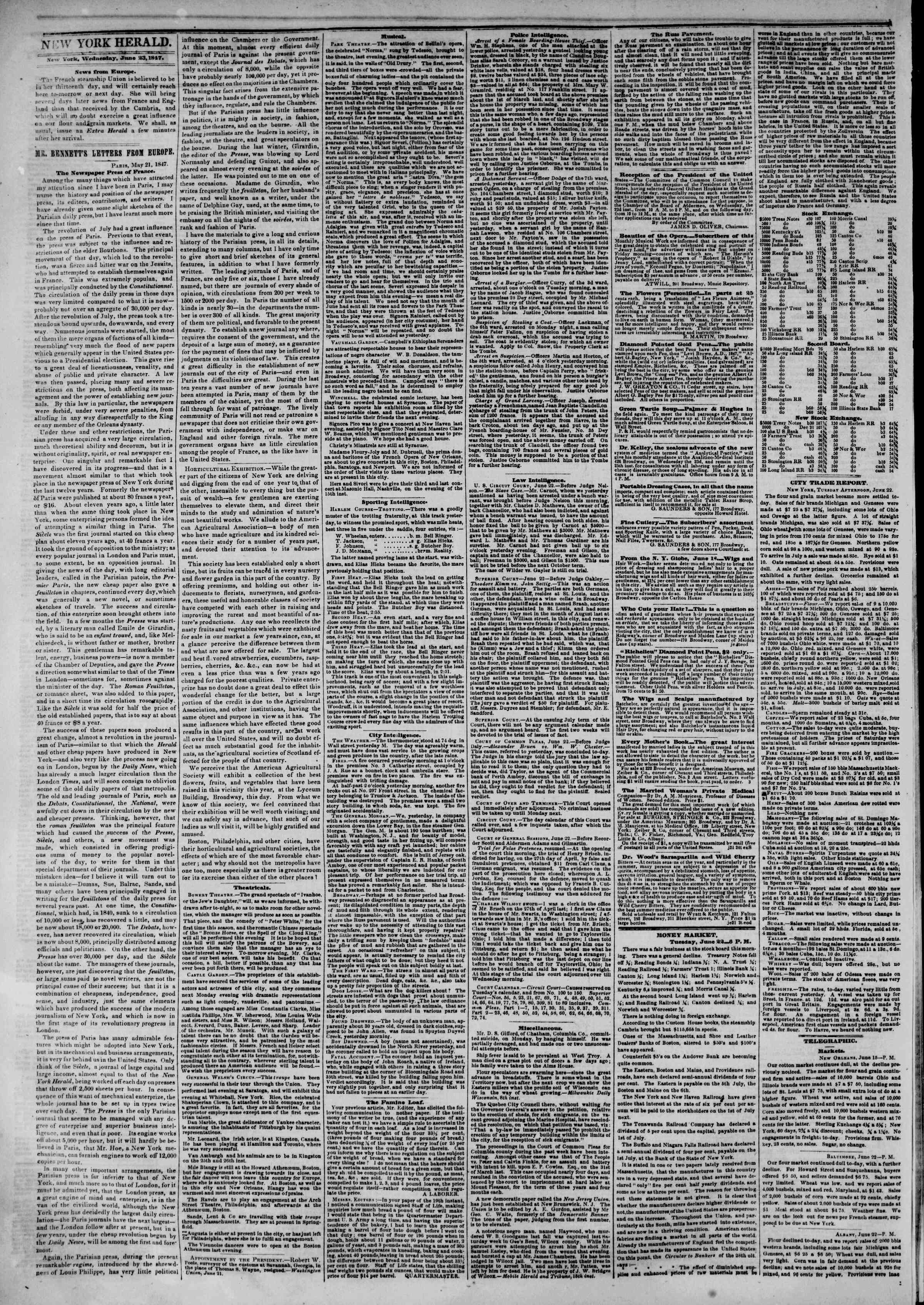Newspaper of The New York Herald dated June 23, 1847 Page 2