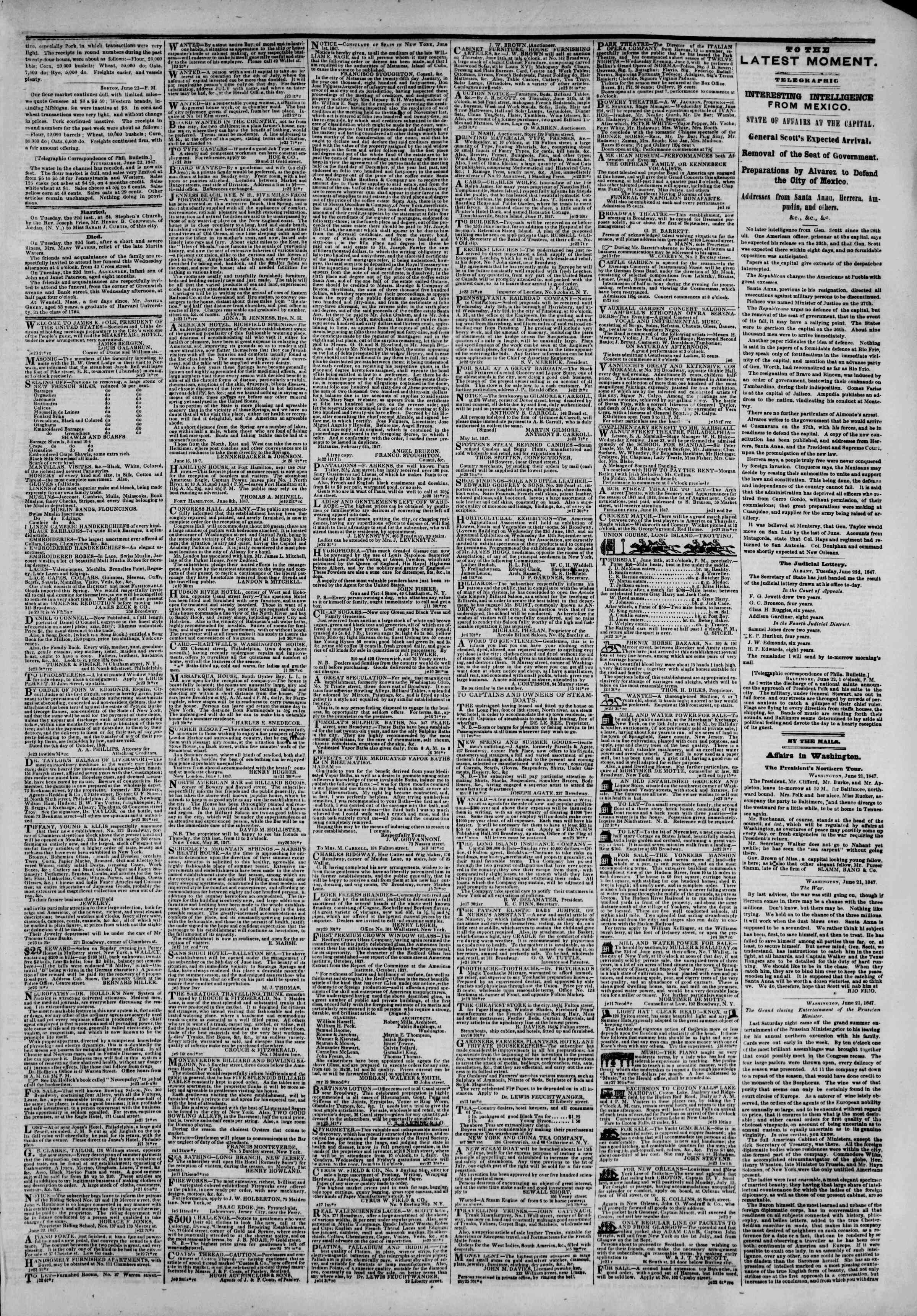 Newspaper of The New York Herald dated June 23, 1847 Page 3