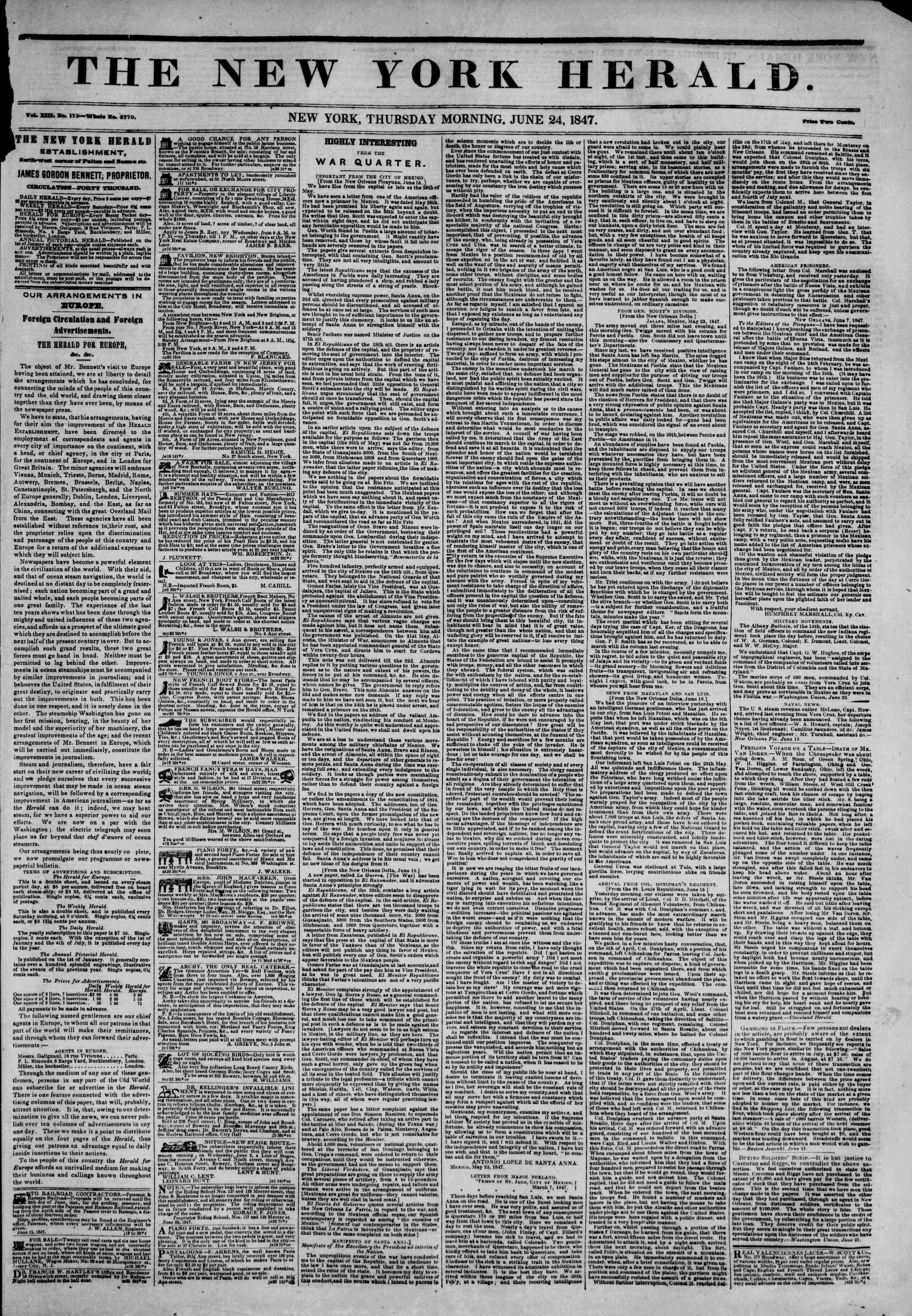 Newspaper of The New York Herald dated June 24, 1847 Page 1