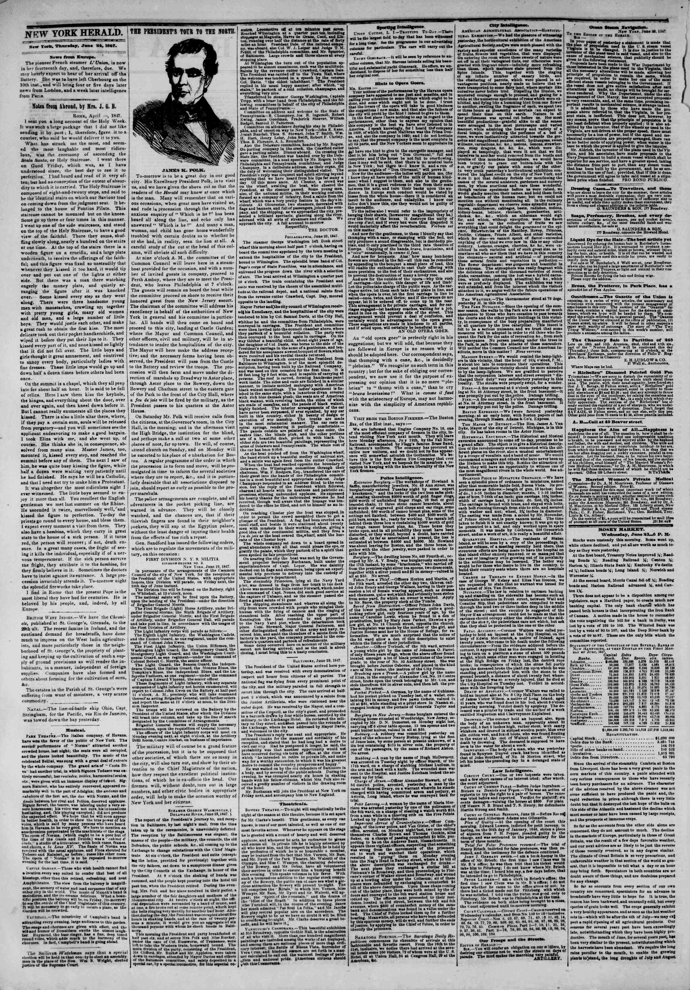 Newspaper of The New York Herald dated June 24, 1847 Page 2