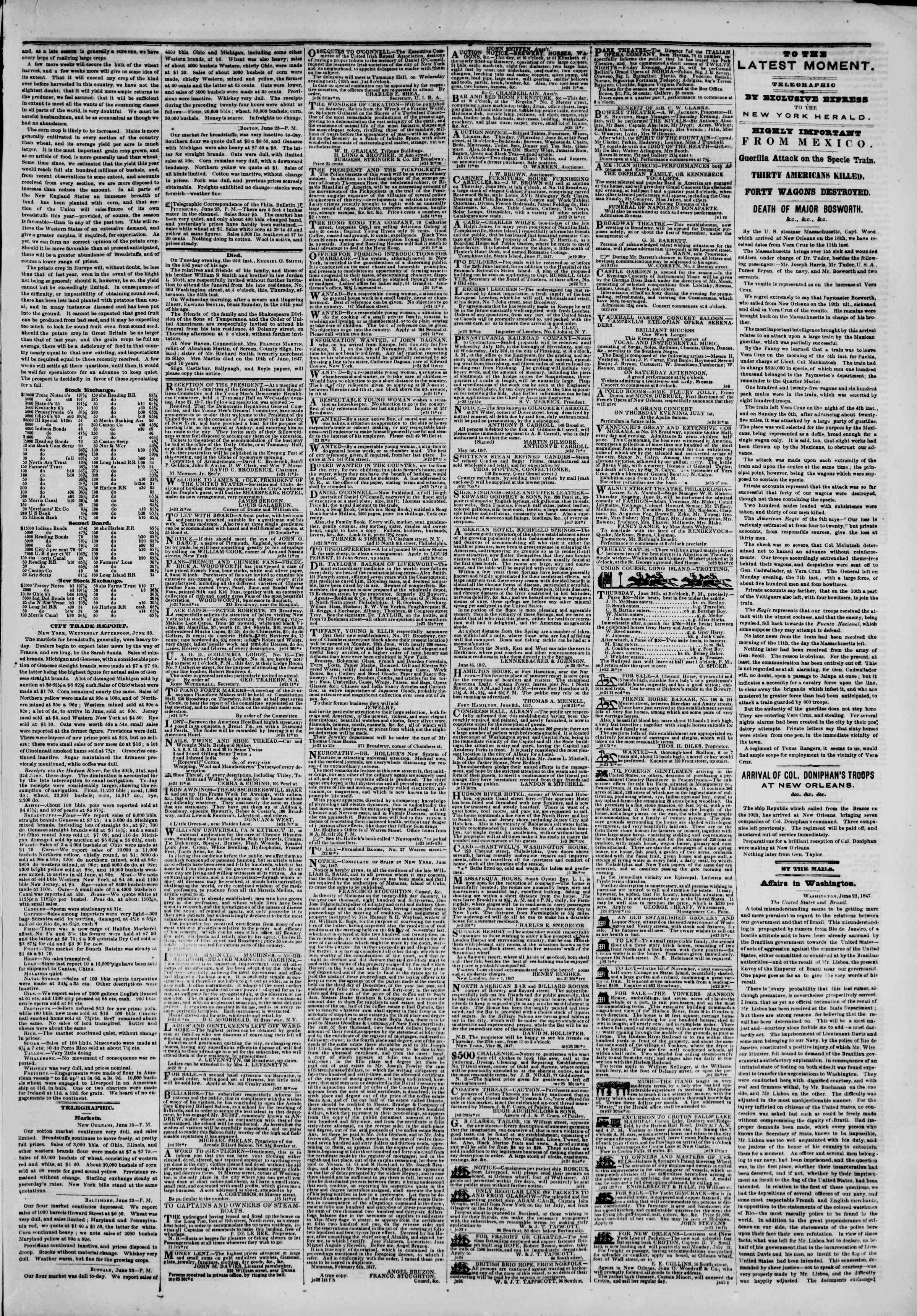 Newspaper of The New York Herald dated June 24, 1847 Page 3