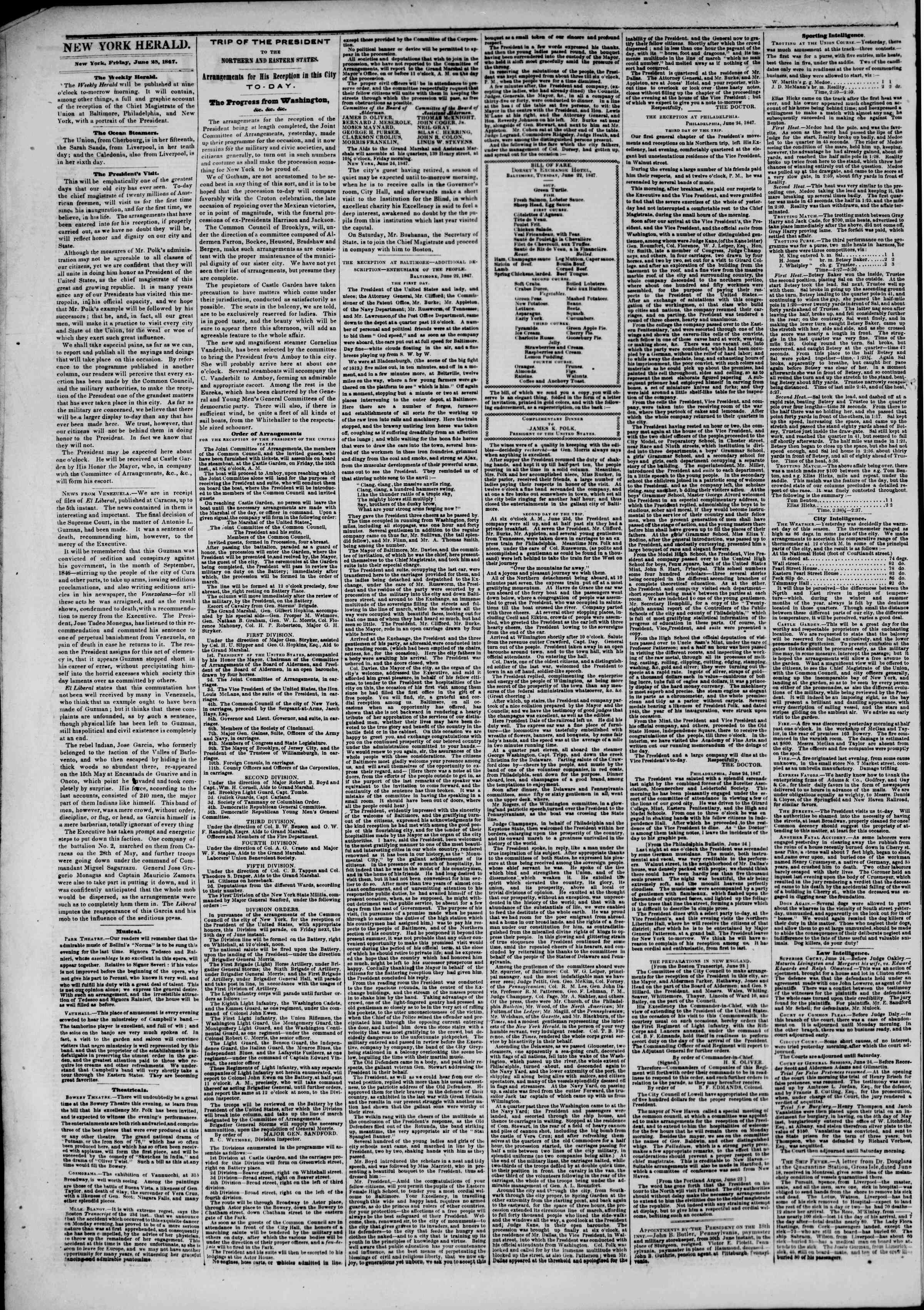 Newspaper of The New York Herald dated June 25, 1847 Page 2