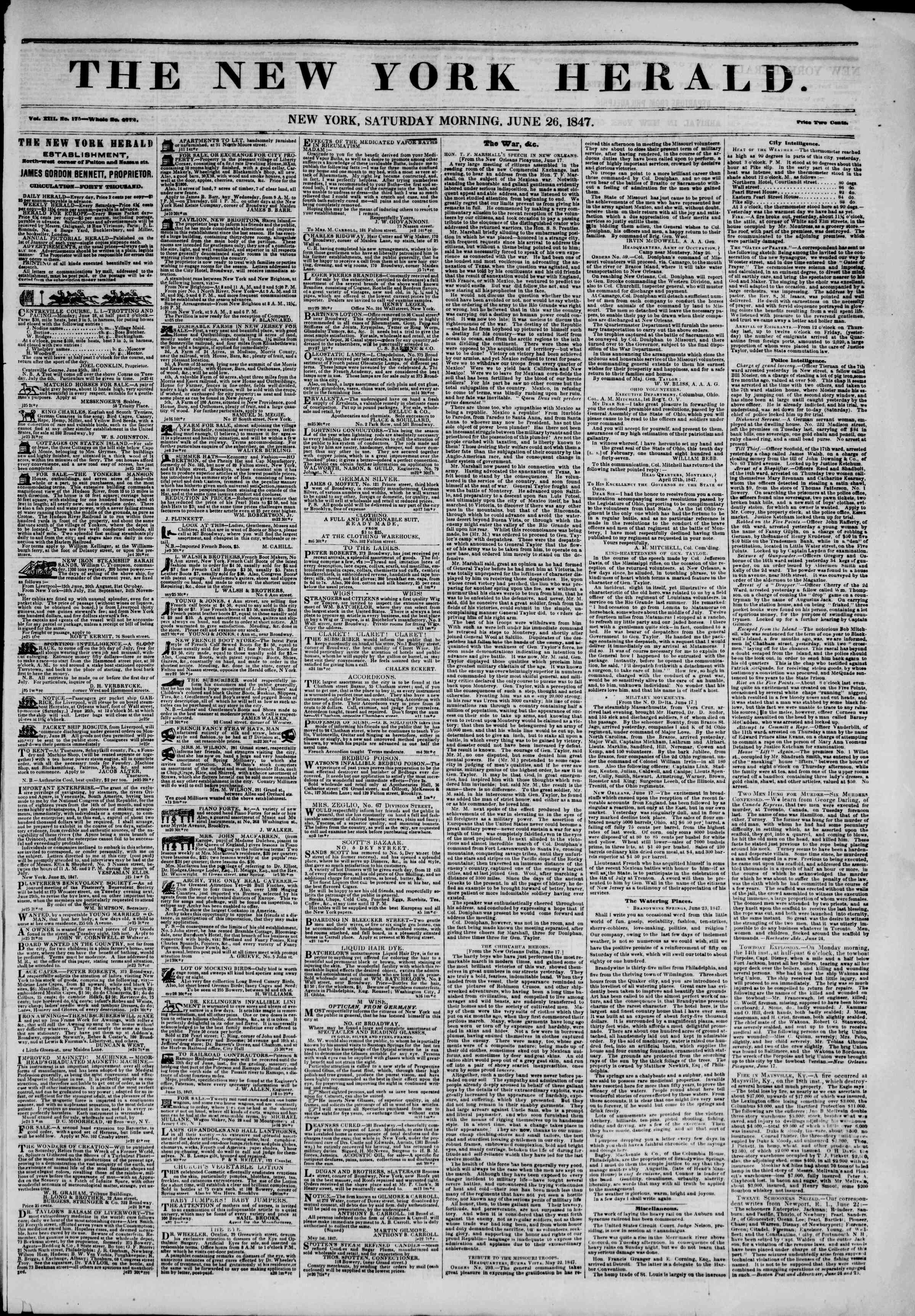 Newspaper of The New York Herald dated June 26, 1847 Page 1