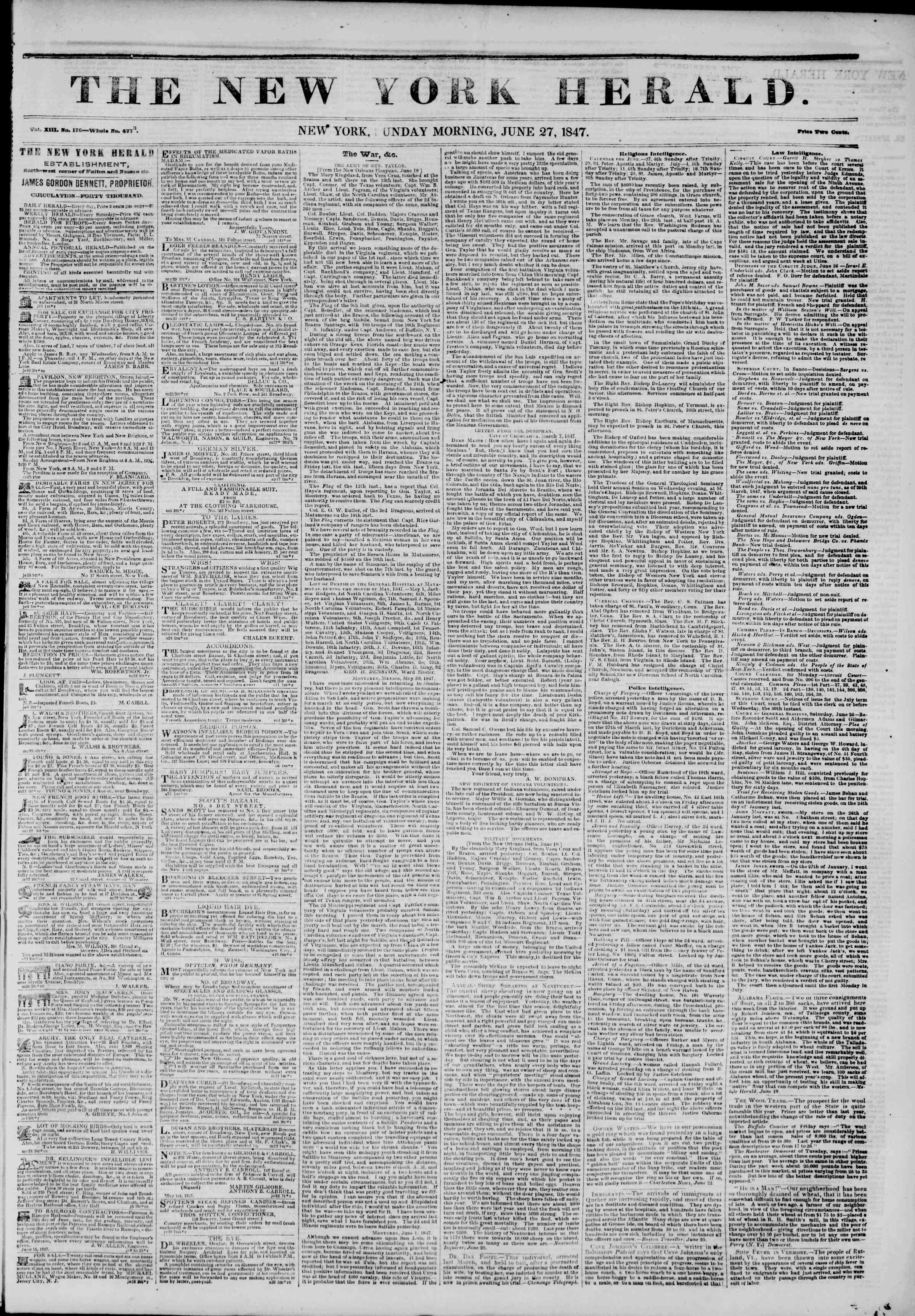 Newspaper of The New York Herald dated June 27, 1847 Page 1
