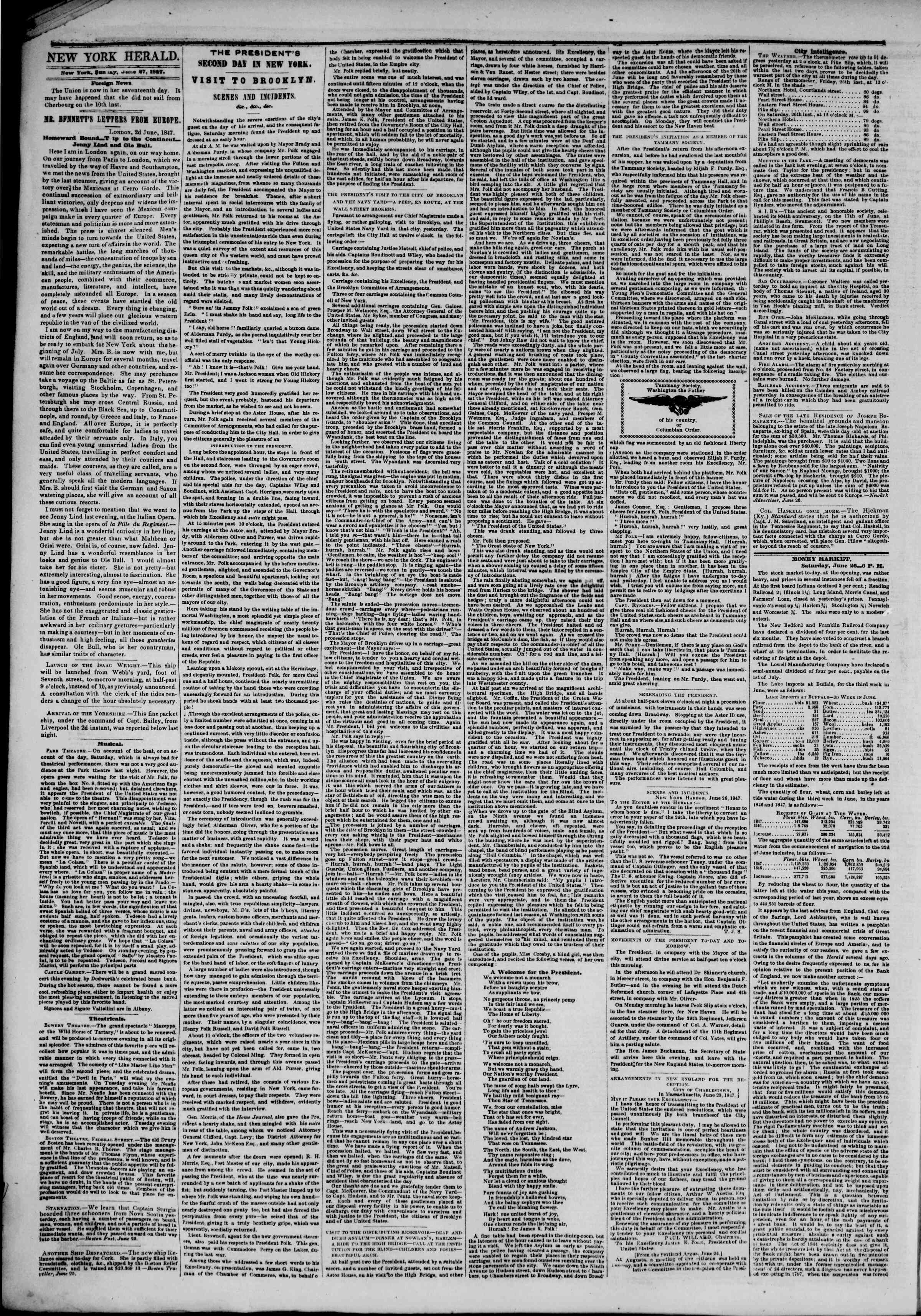 Newspaper of The New York Herald dated June 27, 1847 Page 2